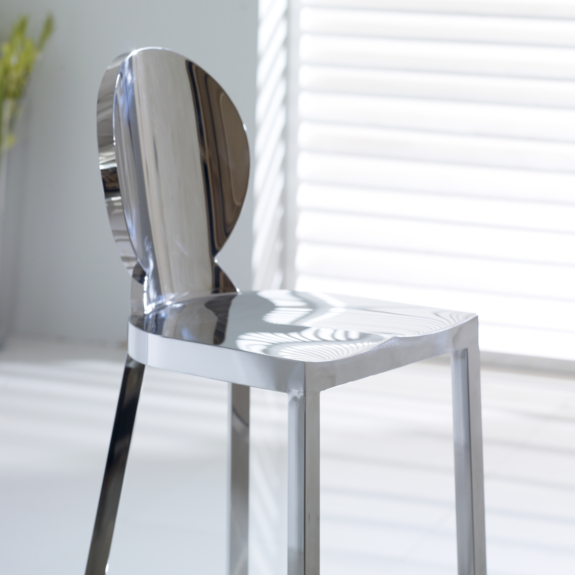 Louis Polished Steel Chrome Barstool