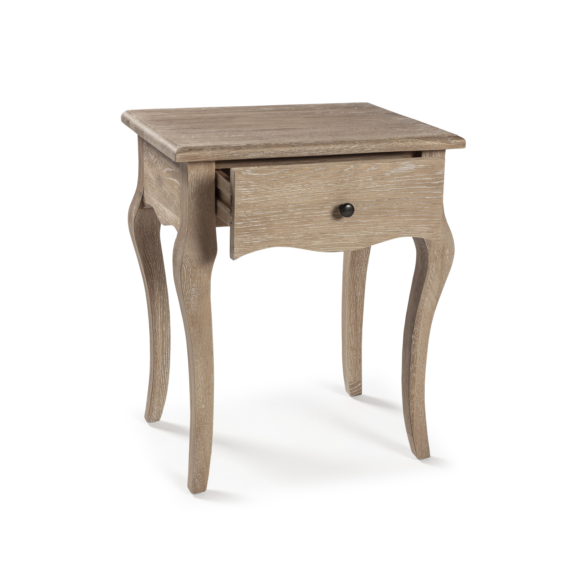 French Weather Limed Oak One Draw Bedside Table