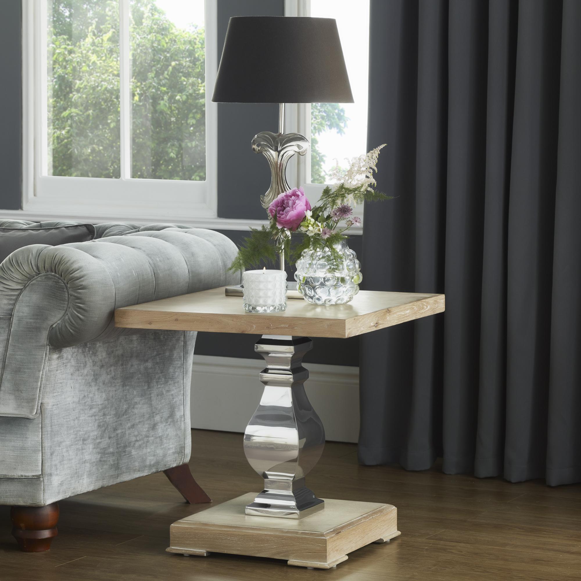 Stainless Steel & Oak Lamp Table