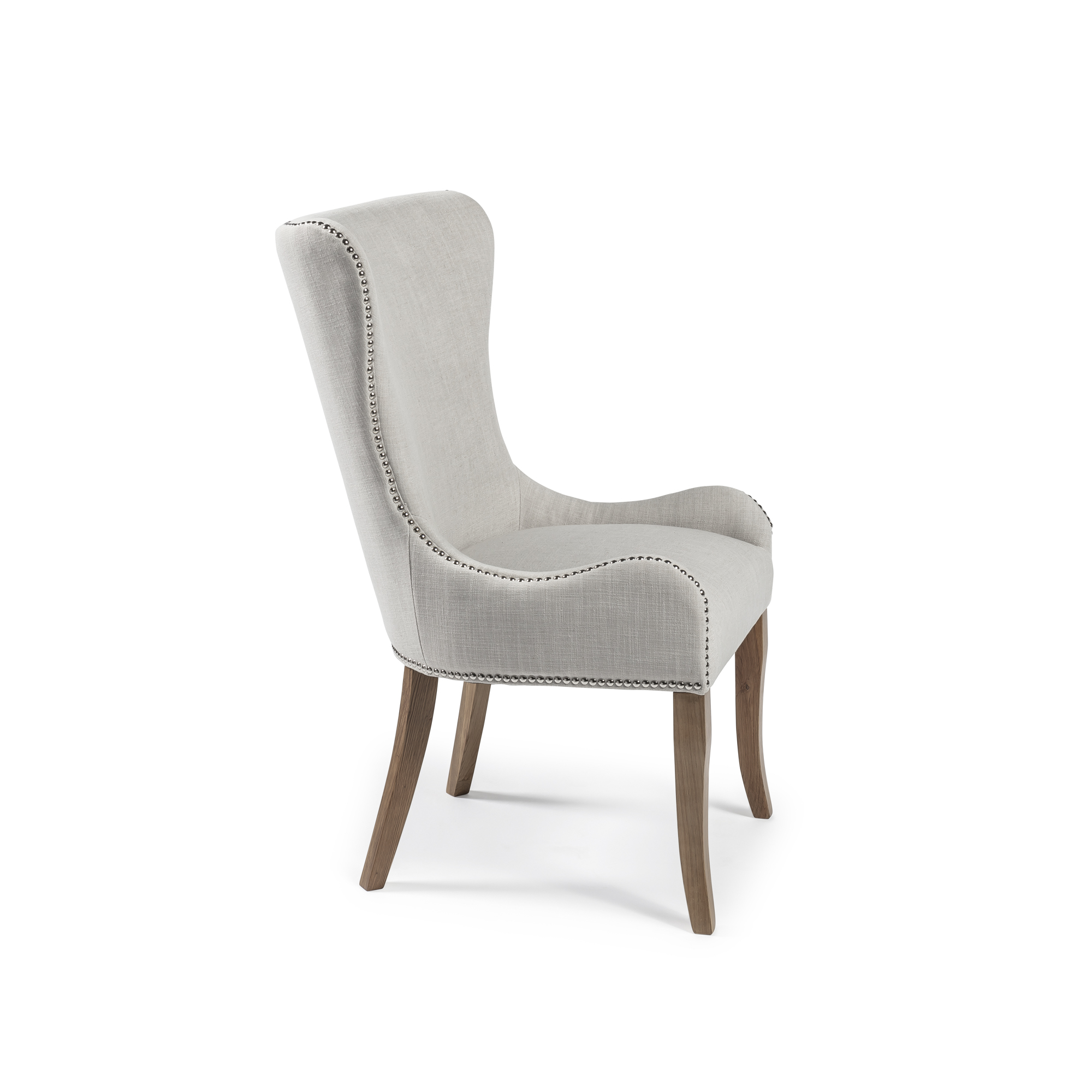 Edinburgh Linen Dining Chairs with Oak Legs (Set of 2)