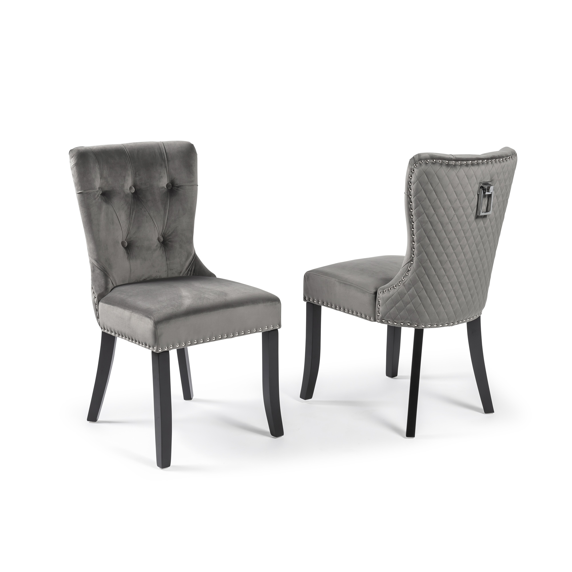 Grey Brushed Dining Chair with Black Legs (Set of 2)