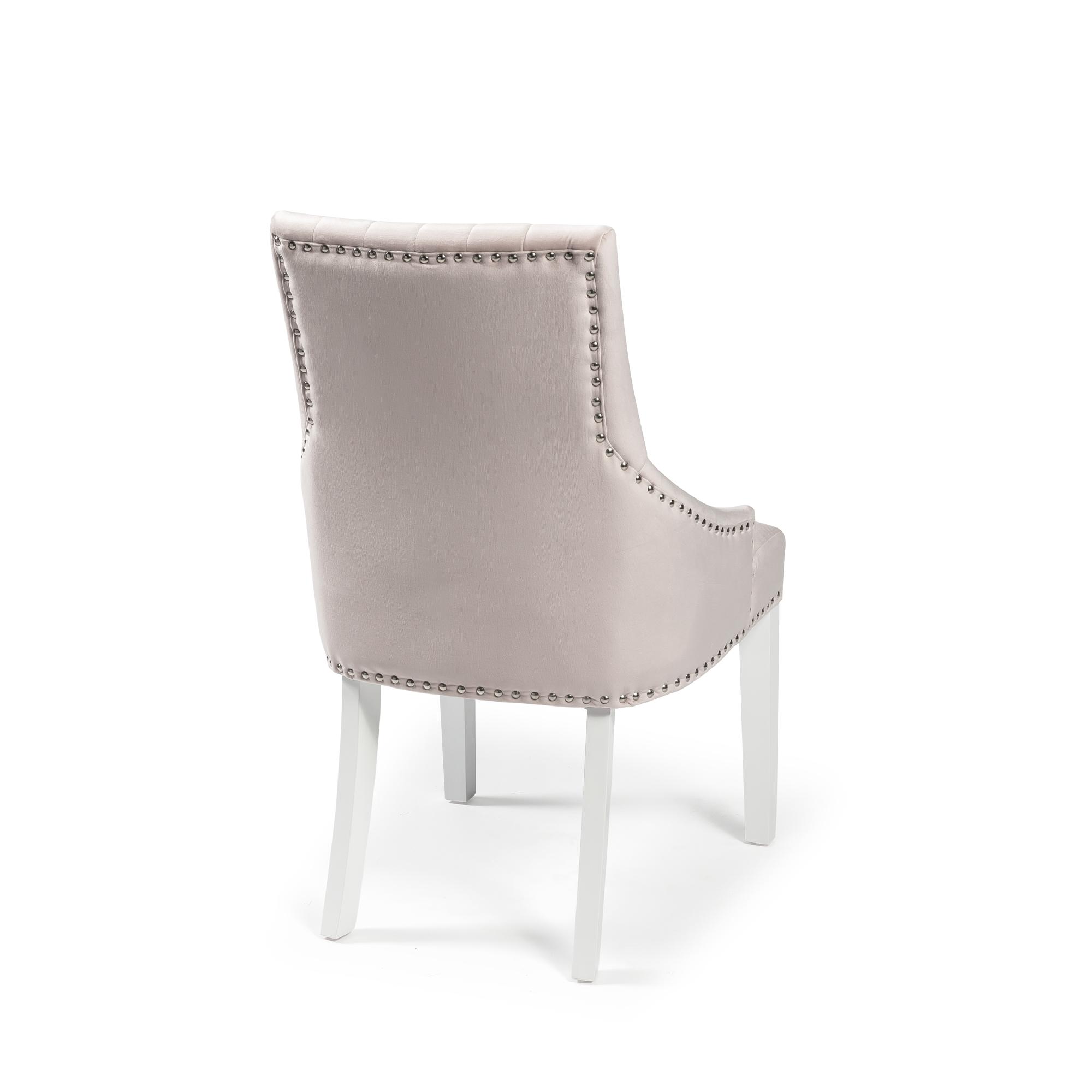 Chelsea Pink Blush Velvet Upholstered Scoop Dining Chair – White Legs – Full Stud (Set of 2)