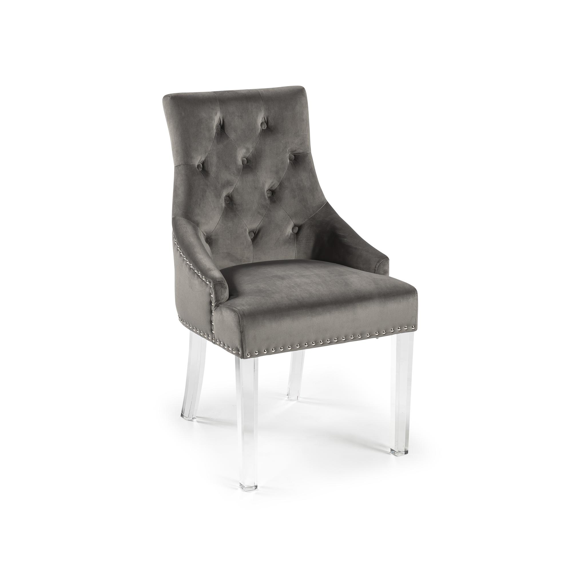 Chelsea Brushed Velvet Upholstered Scoop Dining Chair – Grey