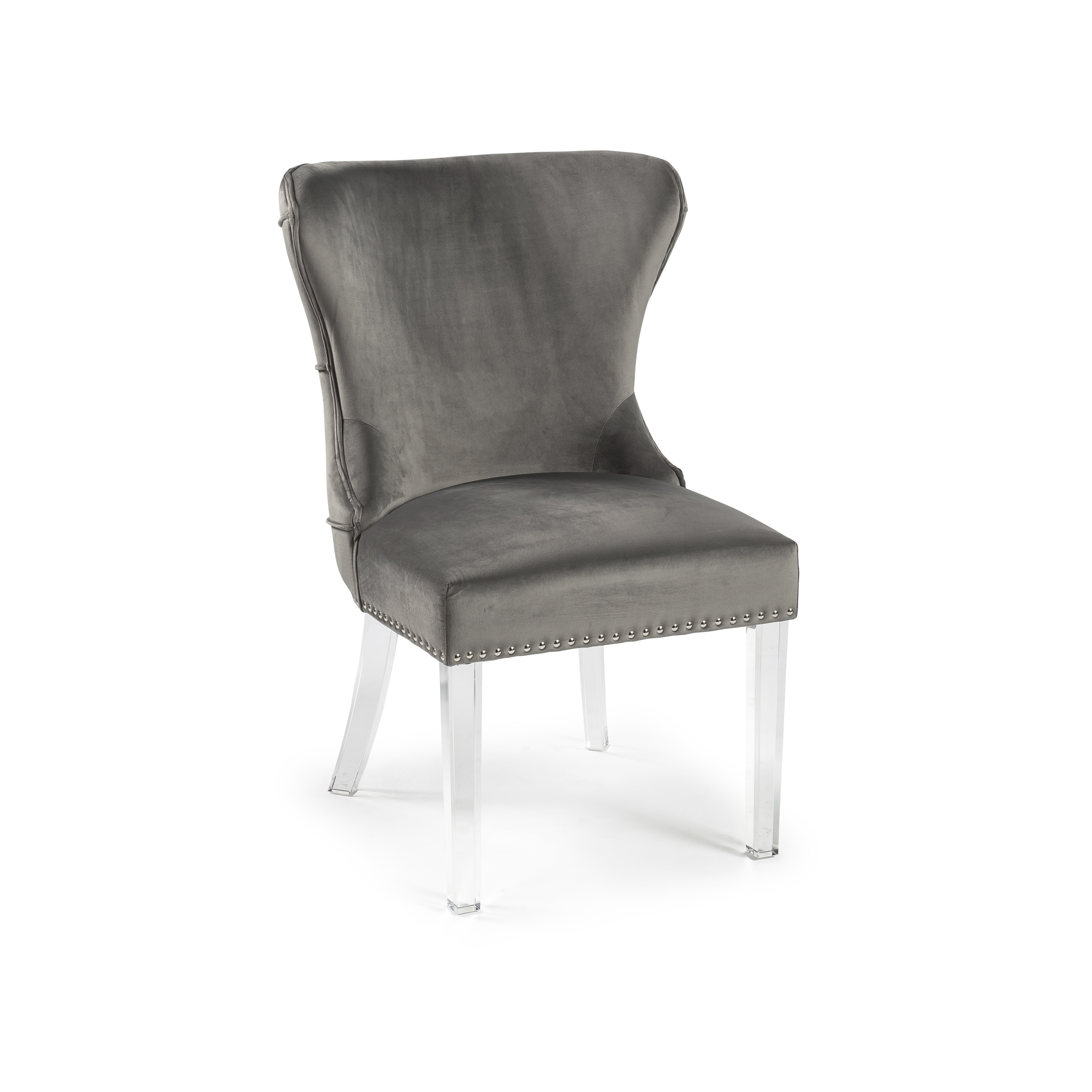 Grey Brushed Dining Chair with Acrylic Legs