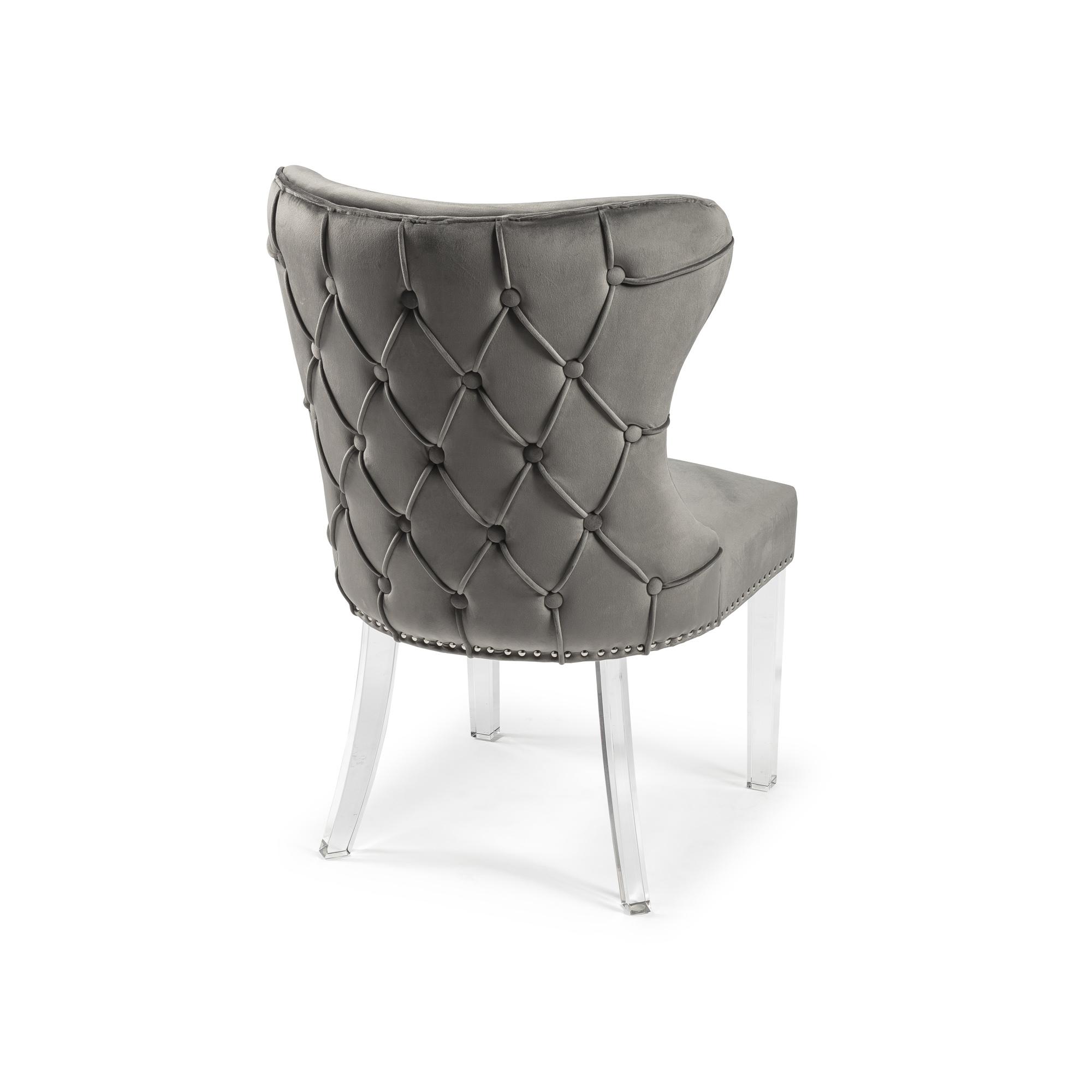 Grey Velvet Dining Chair with Acrylic Legs