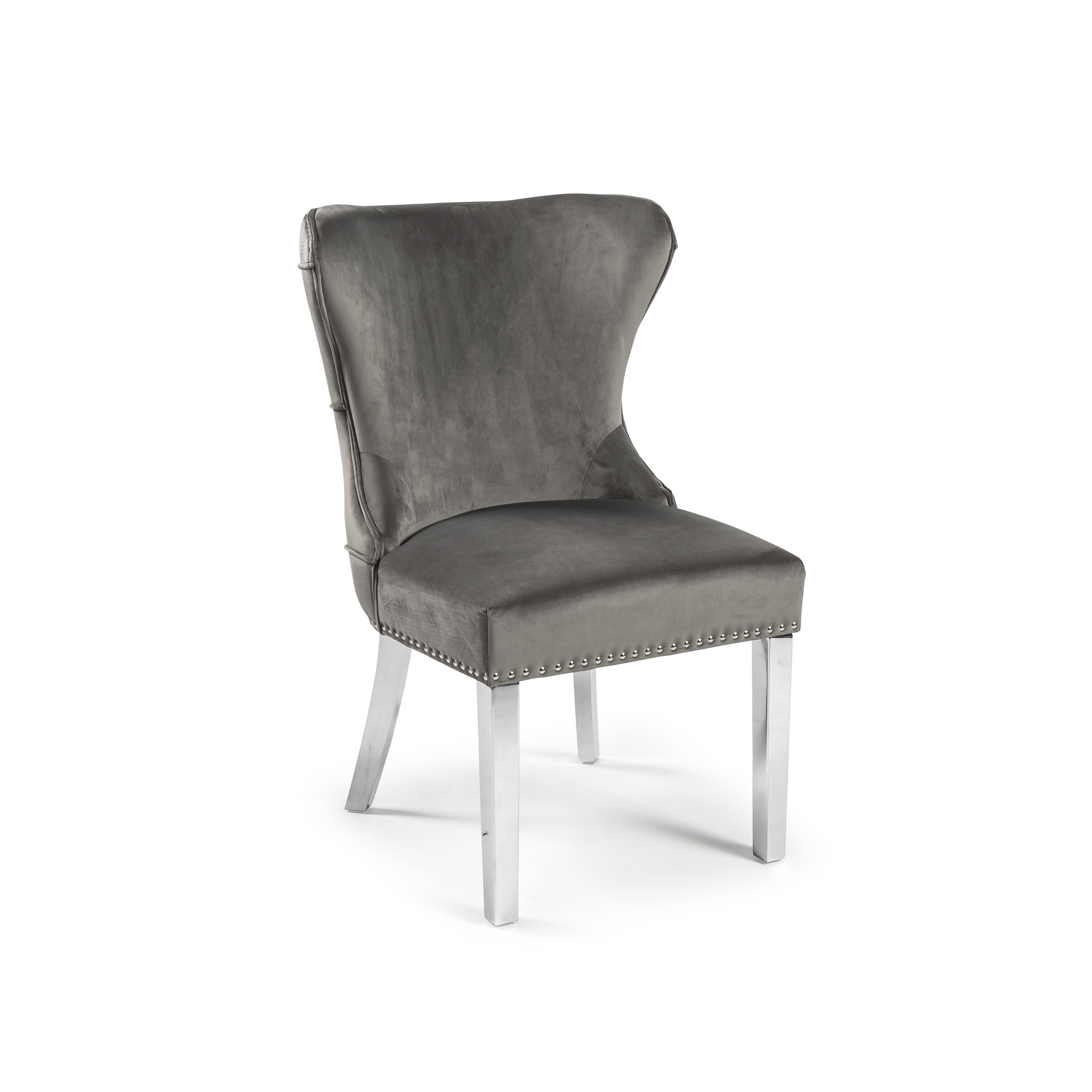Grey Brushed Velvet Dining Chair with Steel Legs
