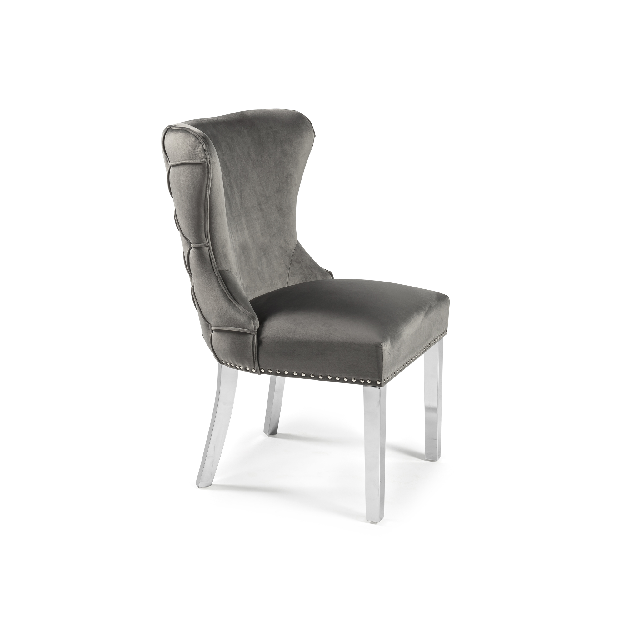 Grey Brushed Dining Chair with Steel Legs