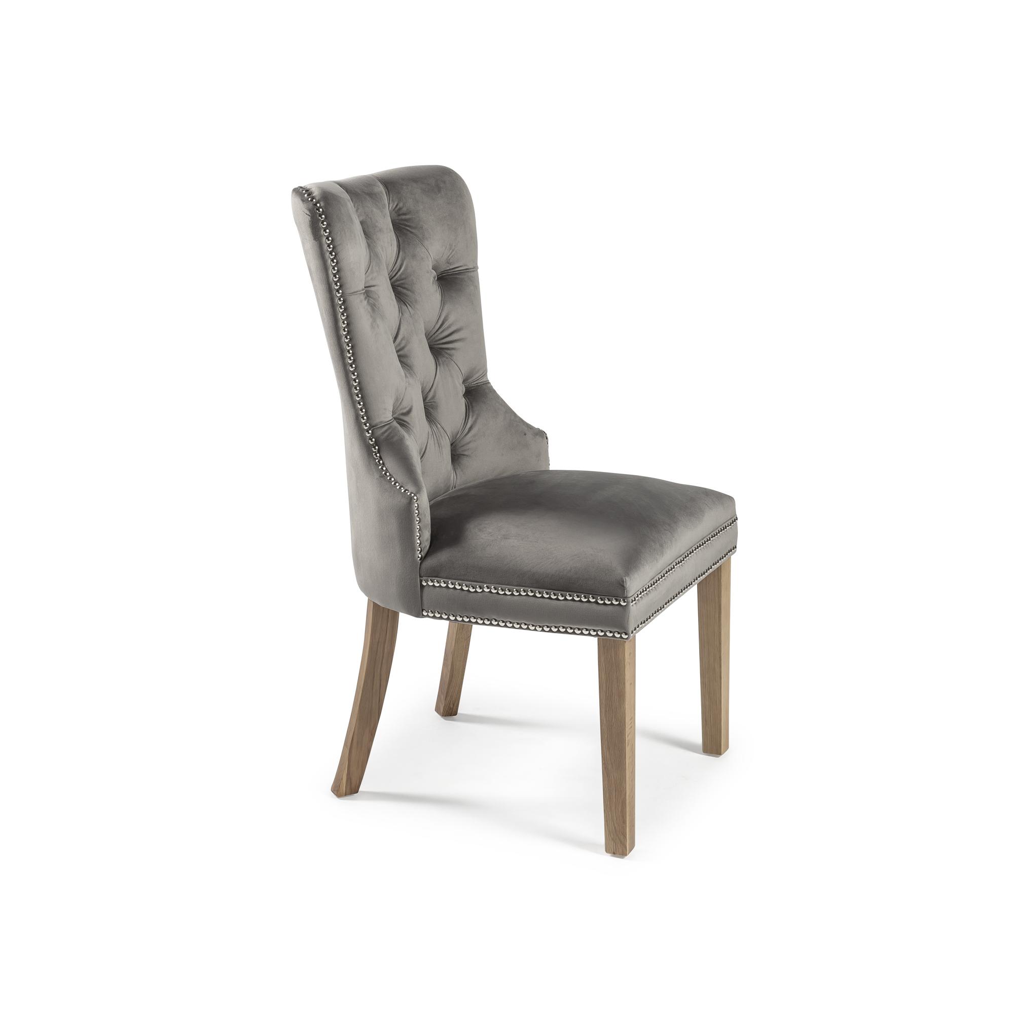 Hale Brushed Velvet Knocker Dining Chair – Grey