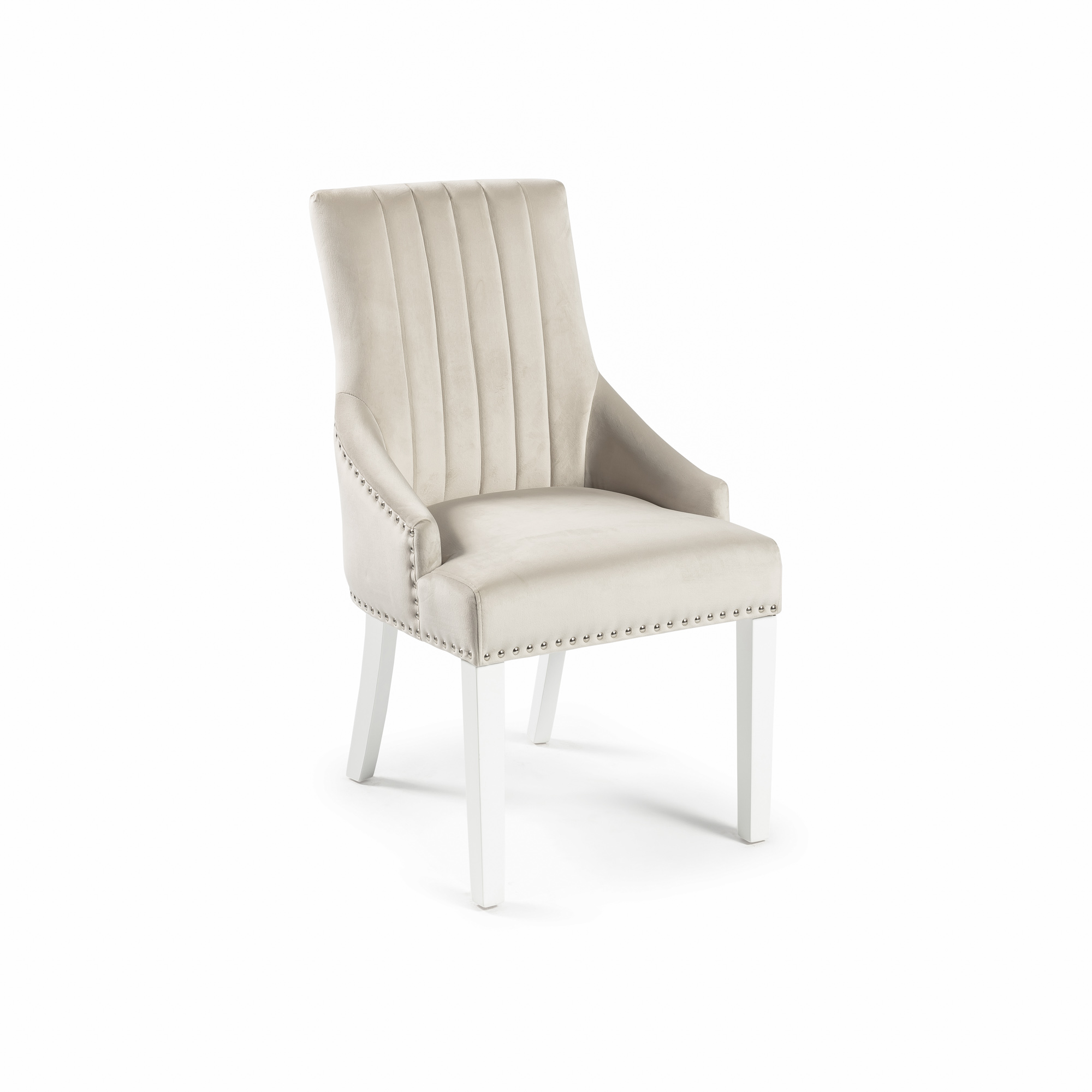 Chelsea Cream Velvet Scoop Dining Chairs With White Legs (Set of 2)