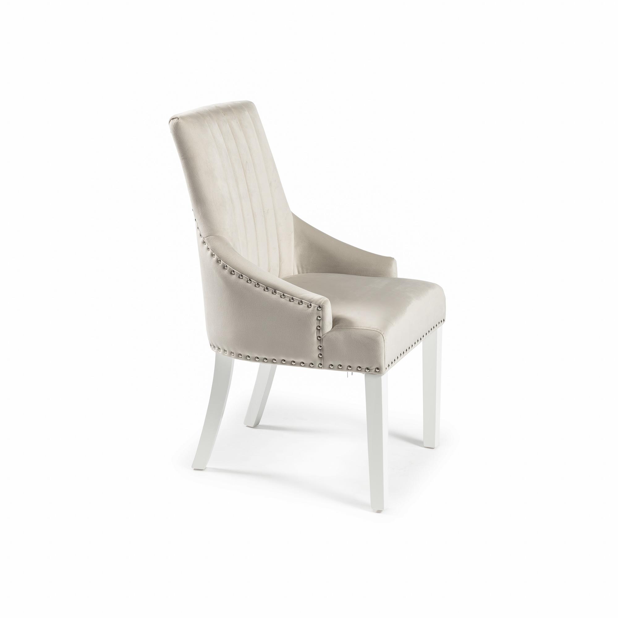 Chelsea Cream Velvet Upholstered Scoop Dining Chair – White Legs – Full Stud (Set of 2)