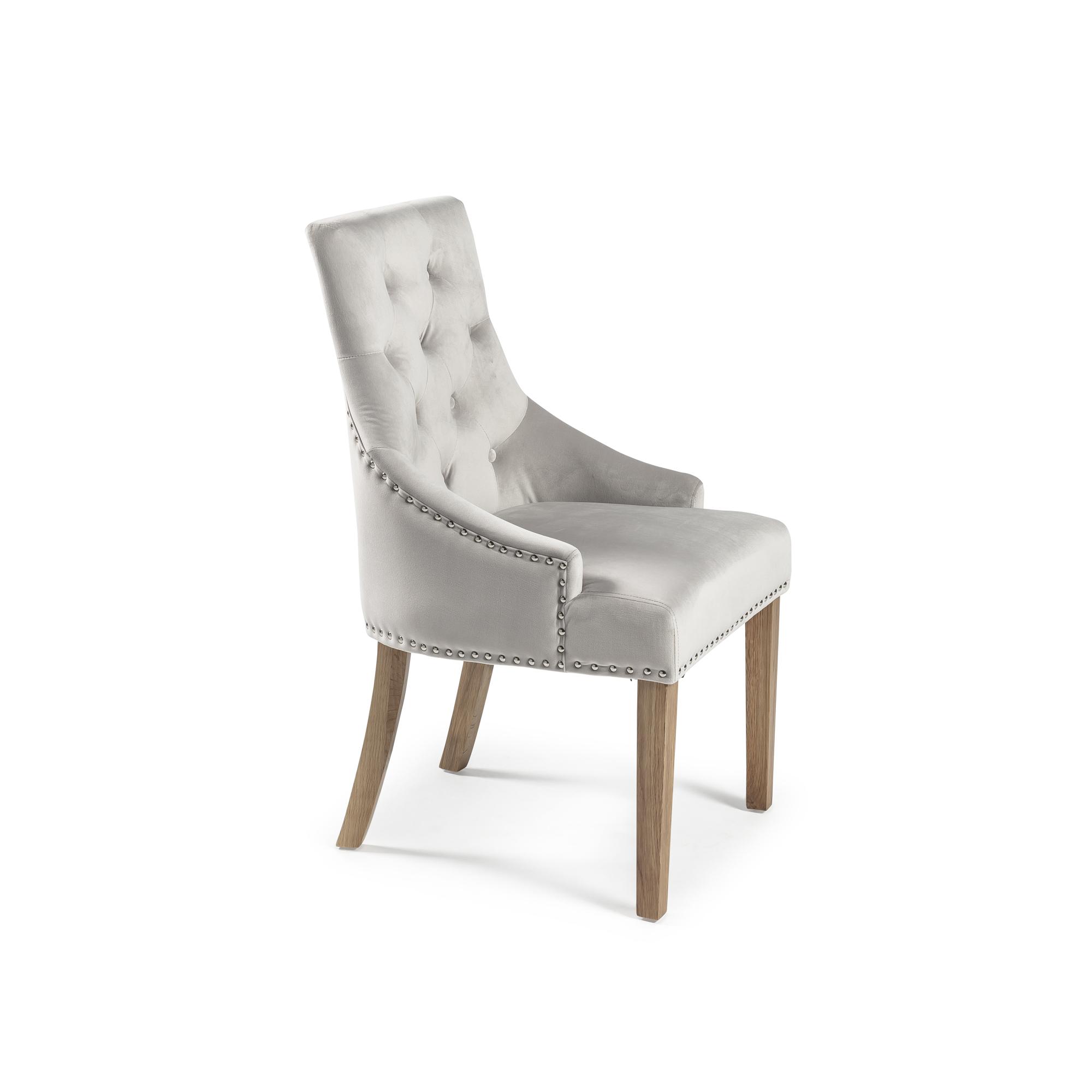 Chelsea Brushed Velvet Upholstered Scoop Dining Chair – Dove Grey