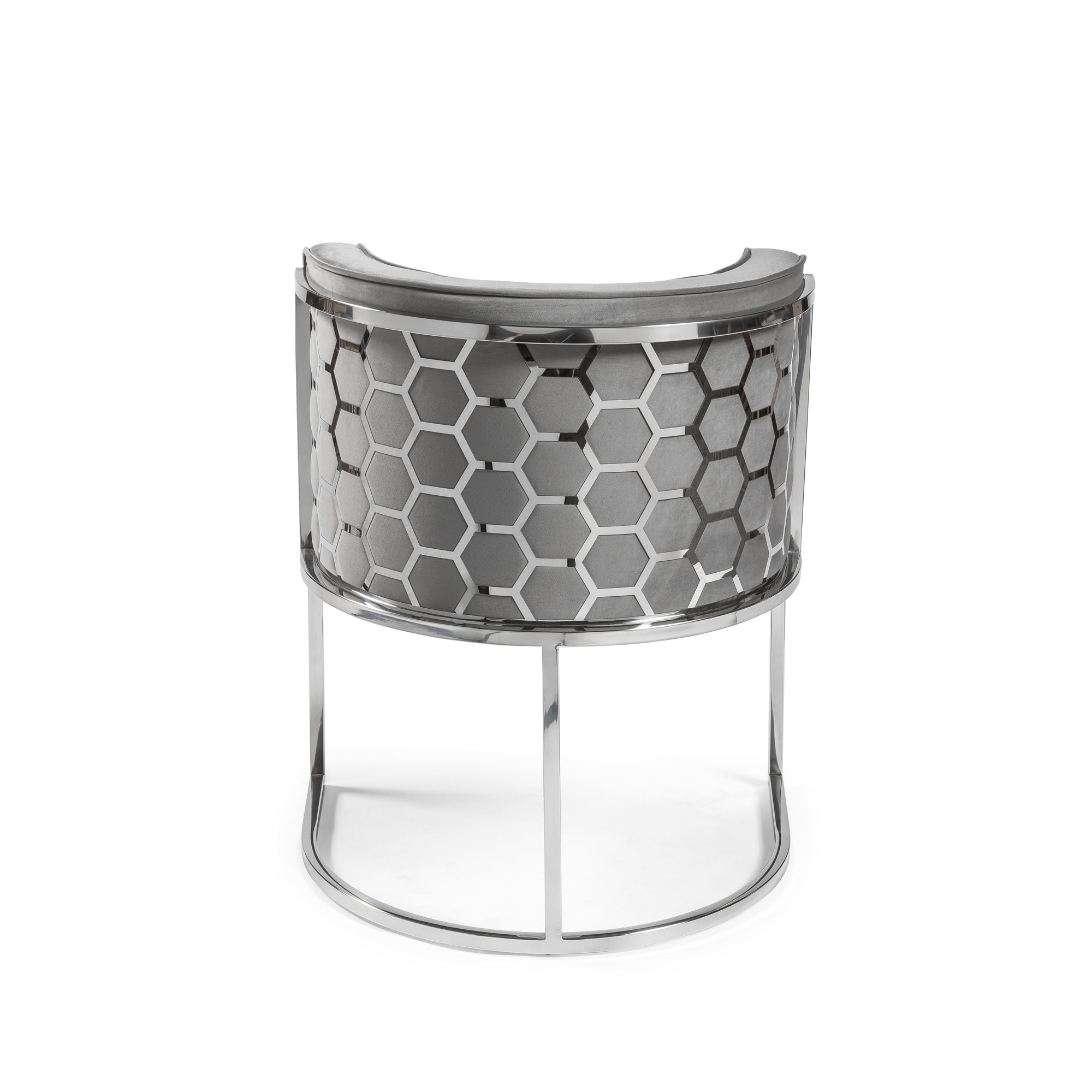 Grey Brushed Velvet Dining Chair with a Stainless Steel Frame