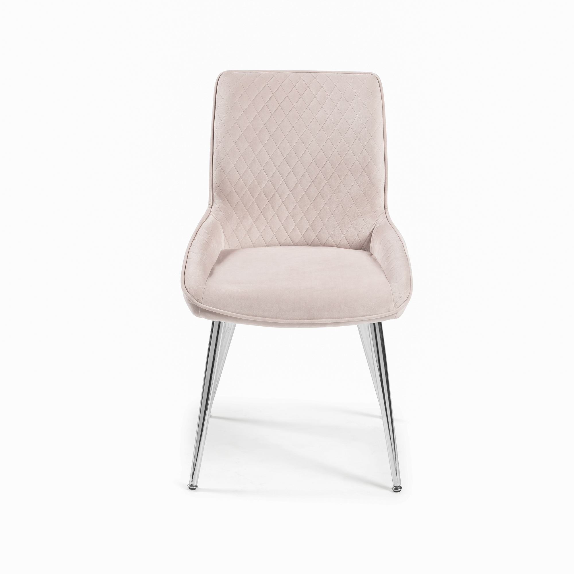 Blush Pink Bushed Velvet Diamond Quilted Dining Chair (Set of 2)