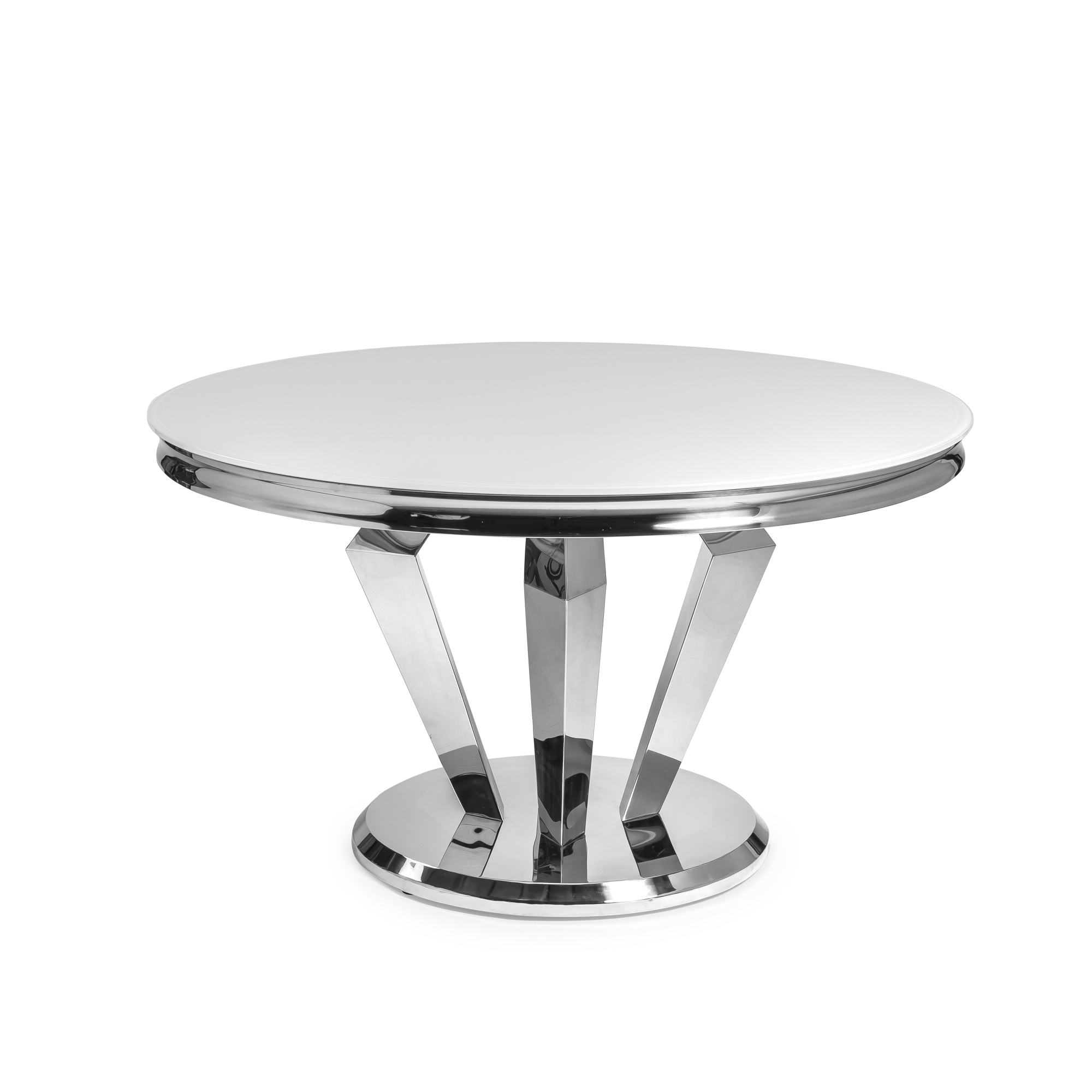 1.3m Circular White Glass Top Dining Table With Stainless Steel Legs
