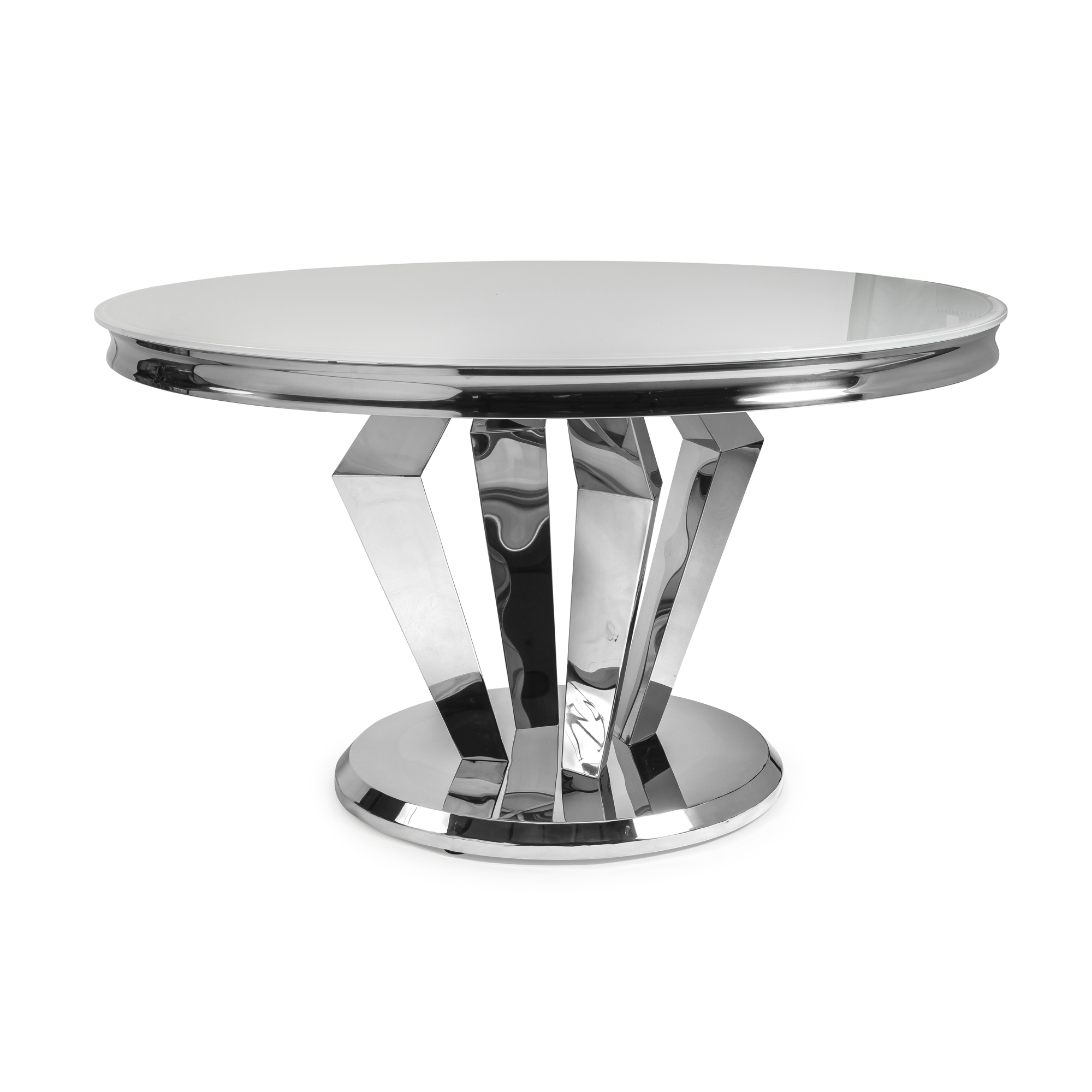 1.3M Circular Stainless Steel Dining Table with White Glass Top