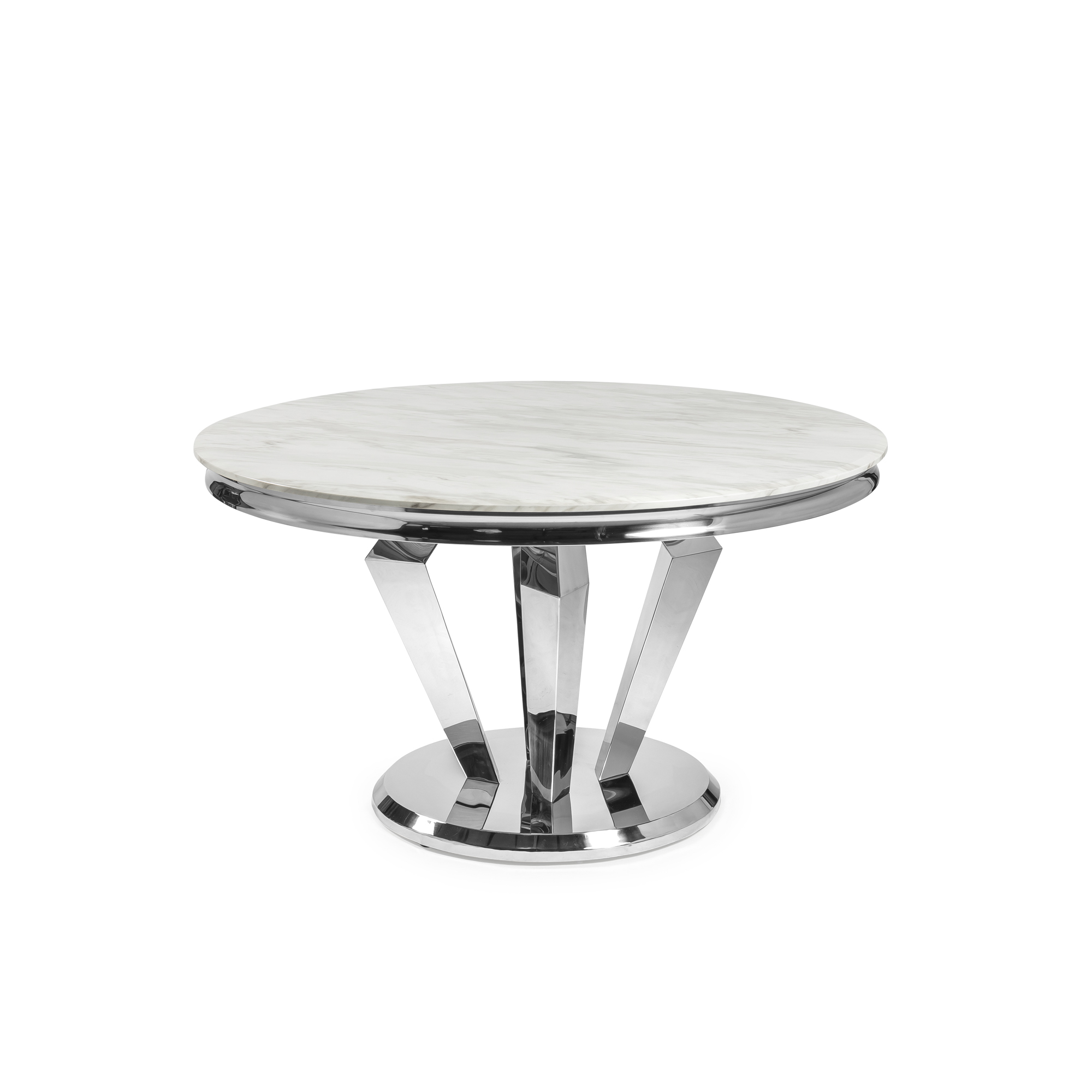 1.3M Circular Marble Dining Table with Stainless Steel Legs