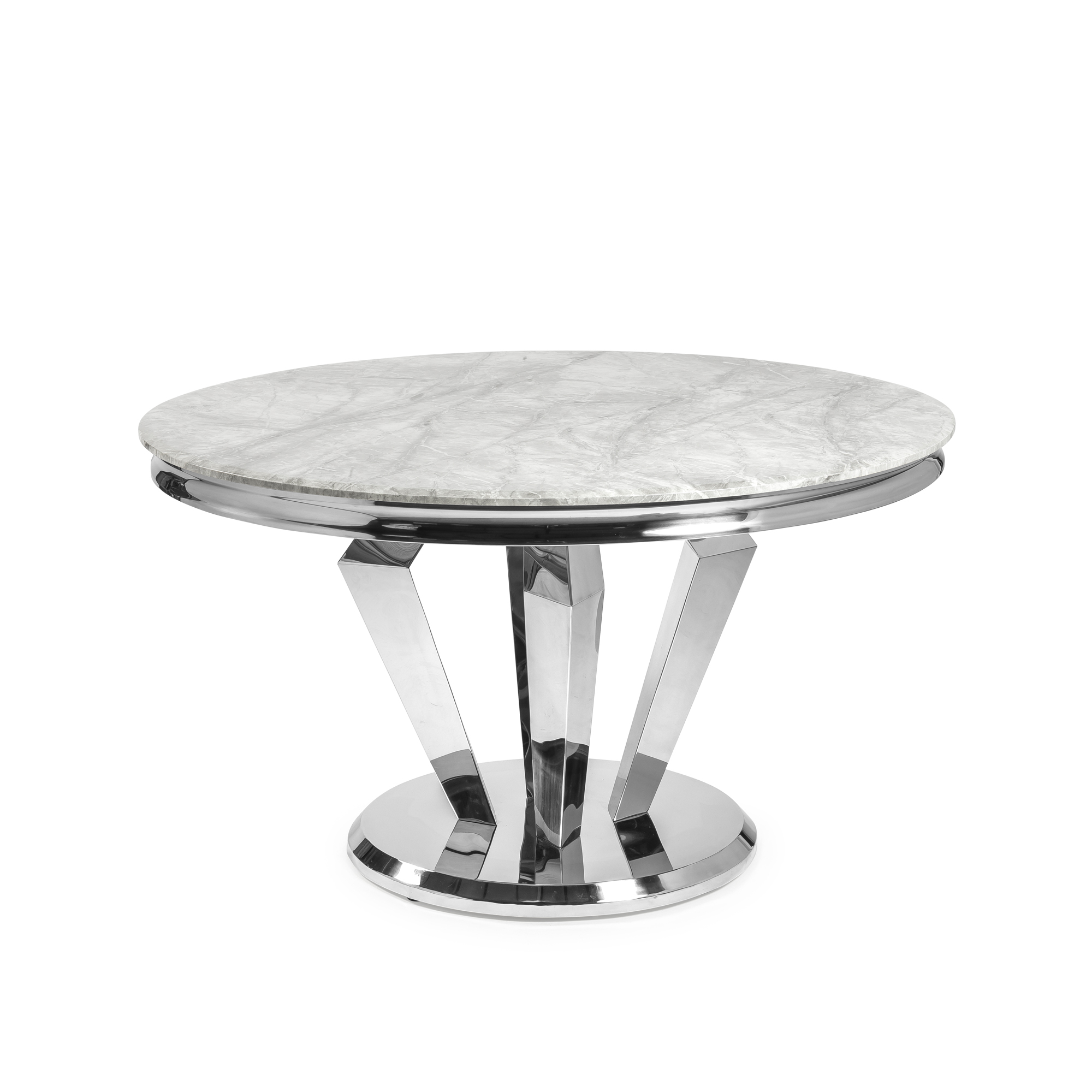 1.3M Circular Stainless Steel Dining Table with Grey Marble Top