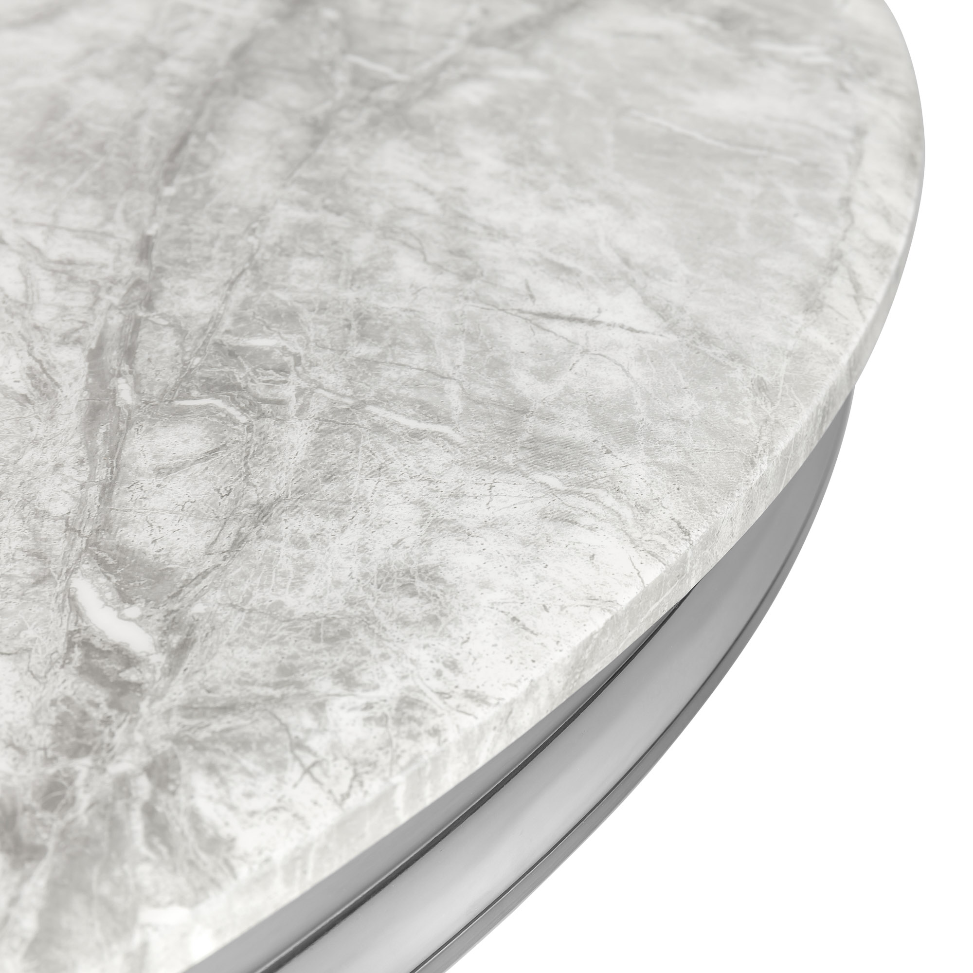 1.3M Polished Round Grey Marble Dining Room Table With Stainless Steel Frame