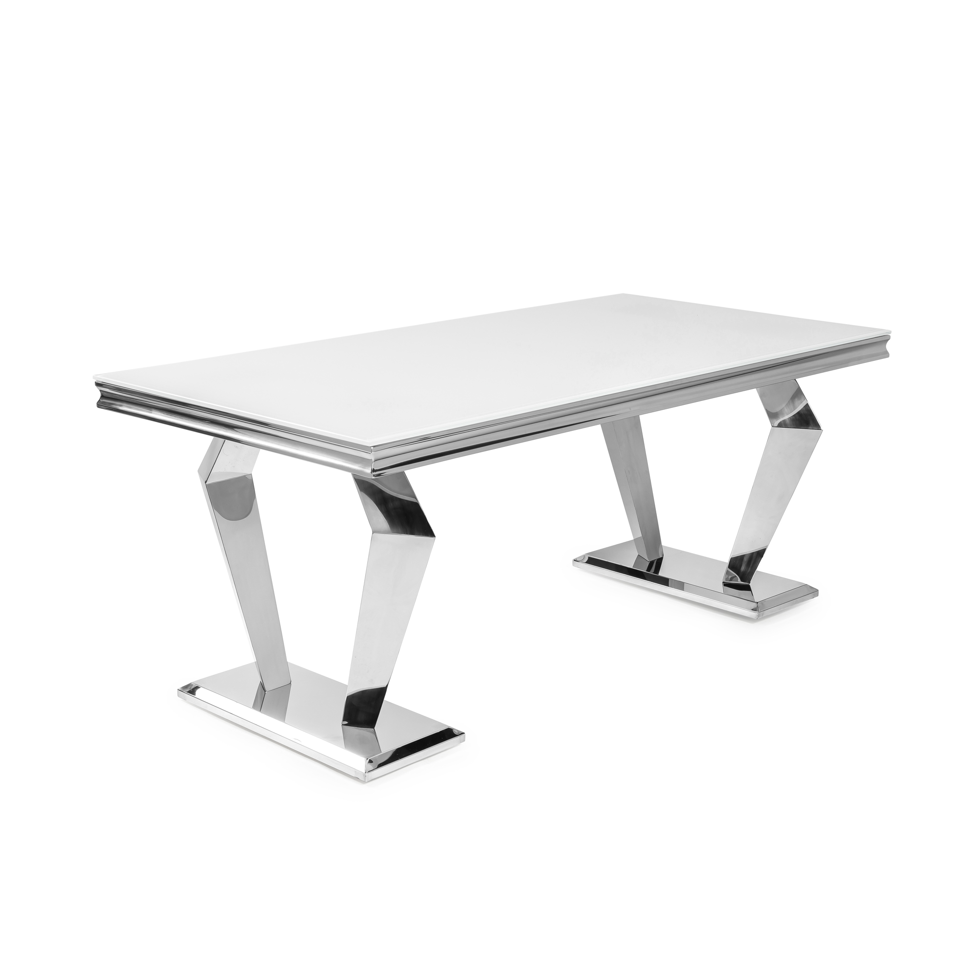 1.8M Sorrento Polished Steel Dining Table with a White Glass Top