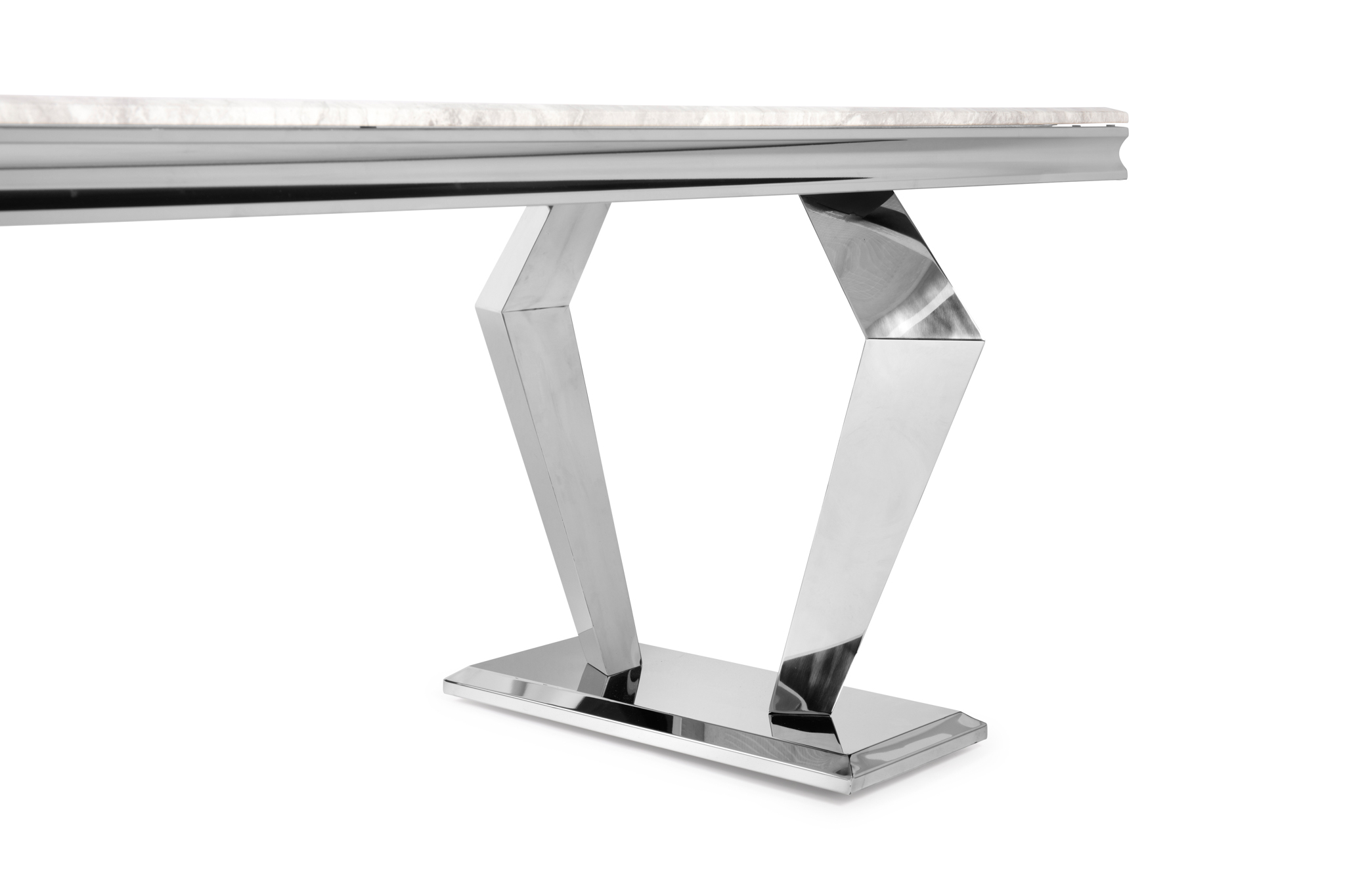 1.8M Sorrento Polished Steel Dining Table with White Marble Top