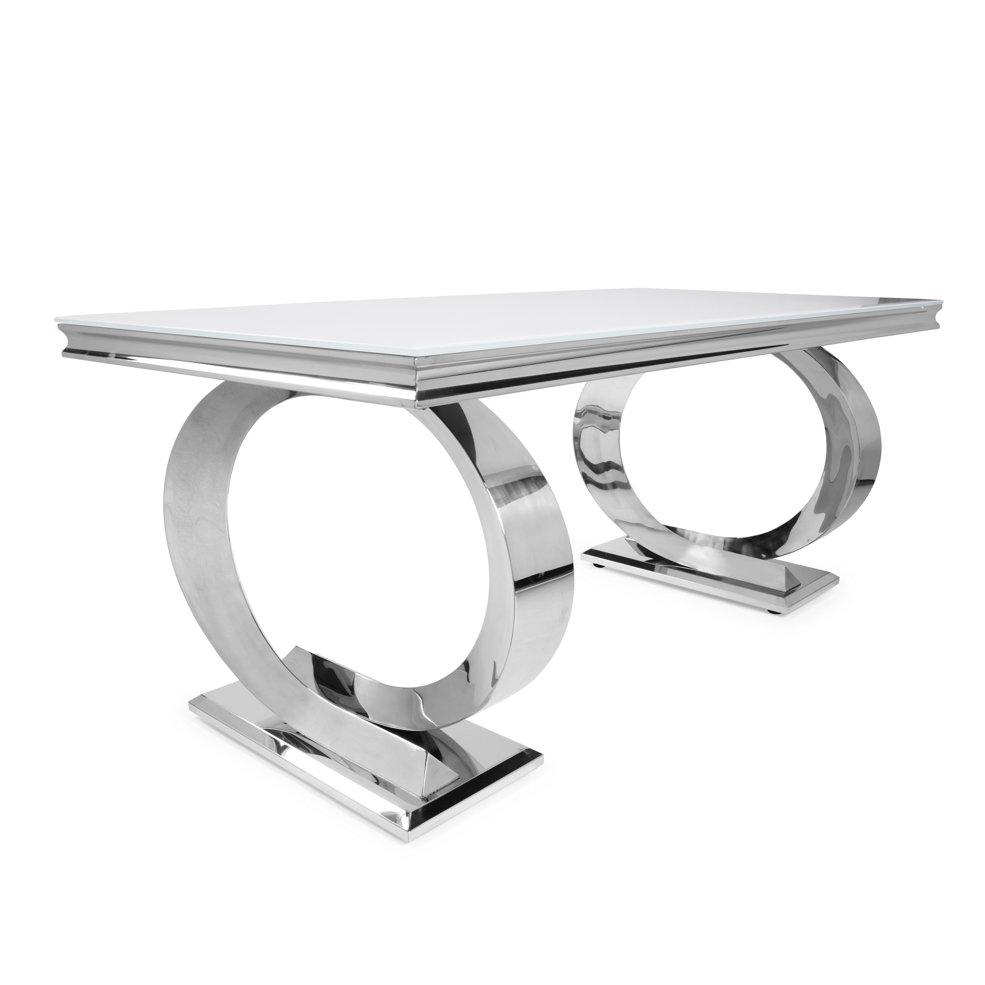 1.8m Pisa Polished Steel Dining White Glass Table Set with 4 Charcoal Linen Dining Chair