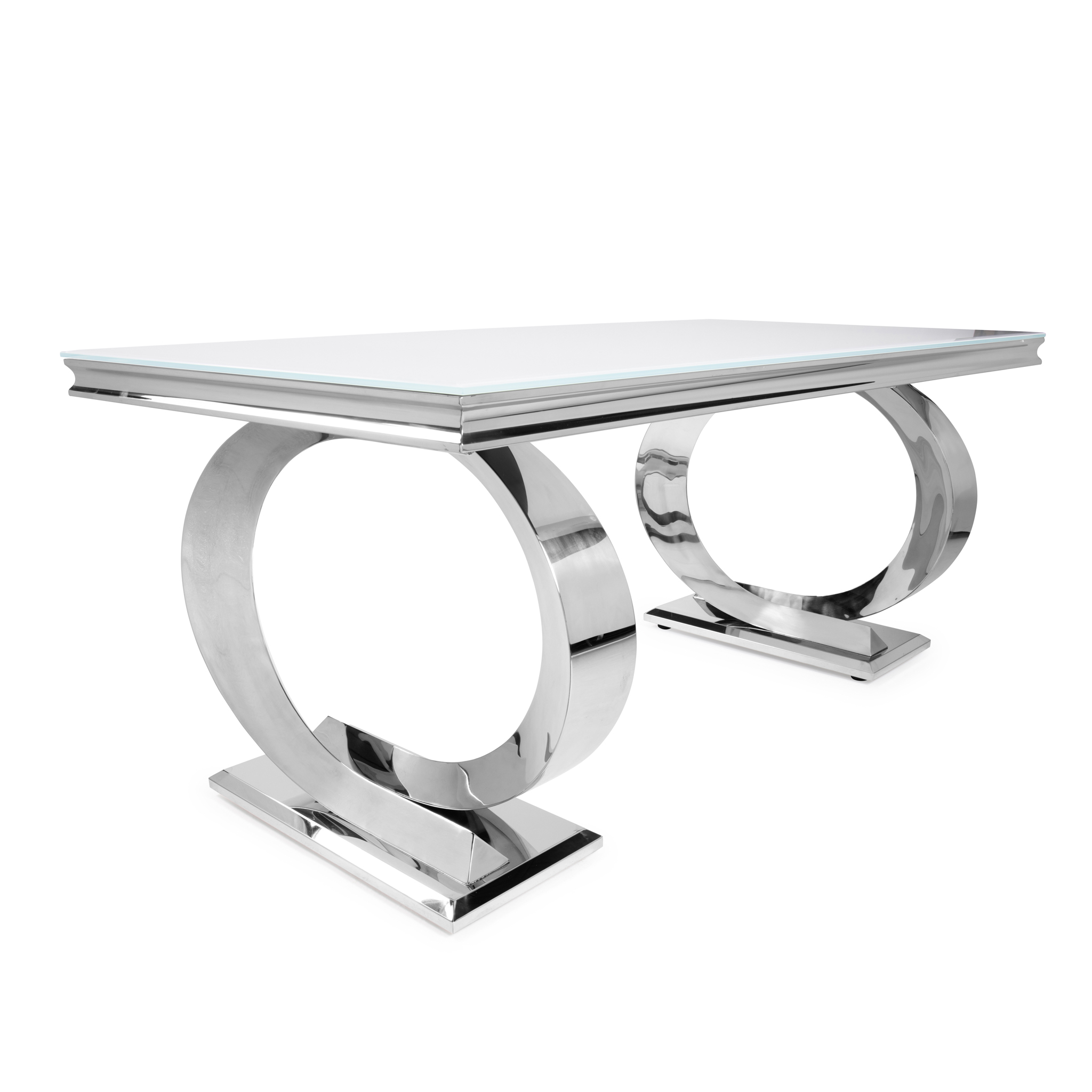 1.8M Pisa Polished Steel Dining Table with White Glass Top