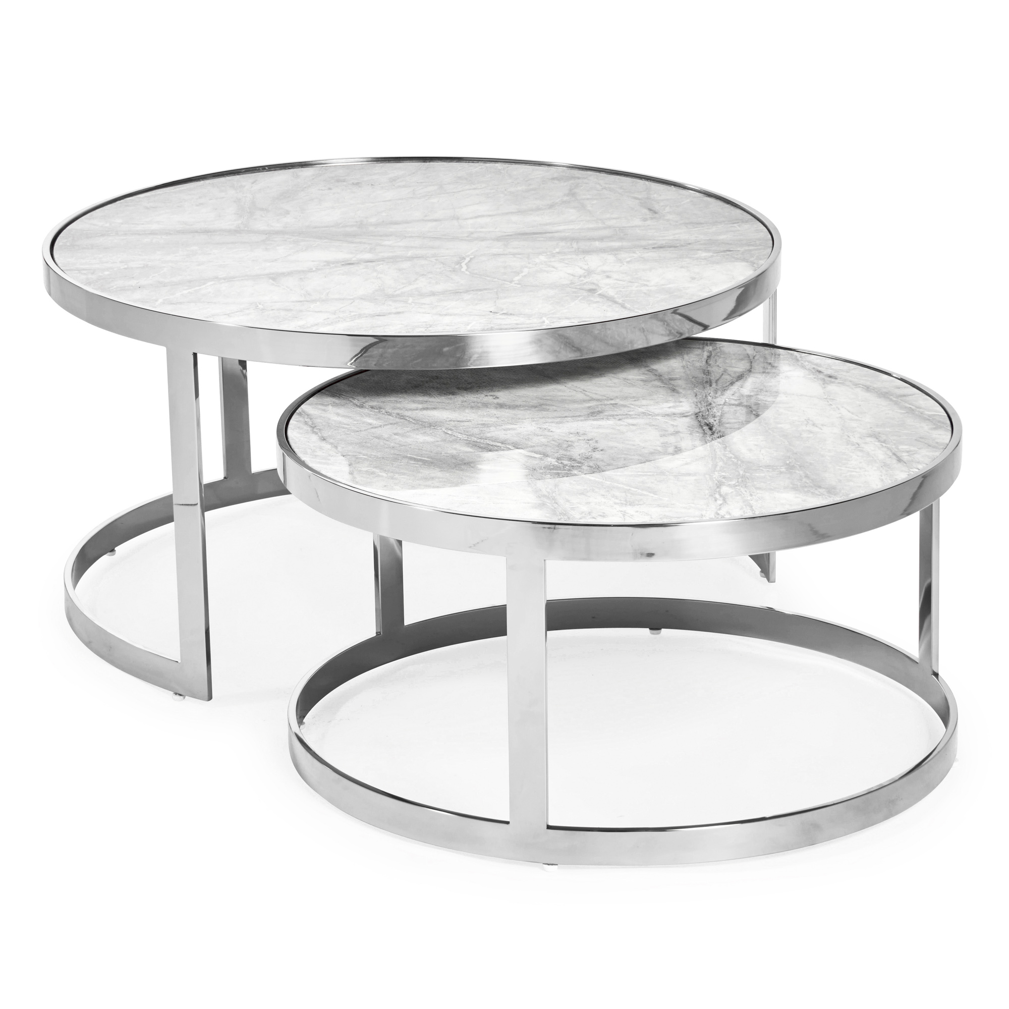 Florence Stainless Steel Framed Set of 2 Circular Coffee Nest Tables – Grey Marble