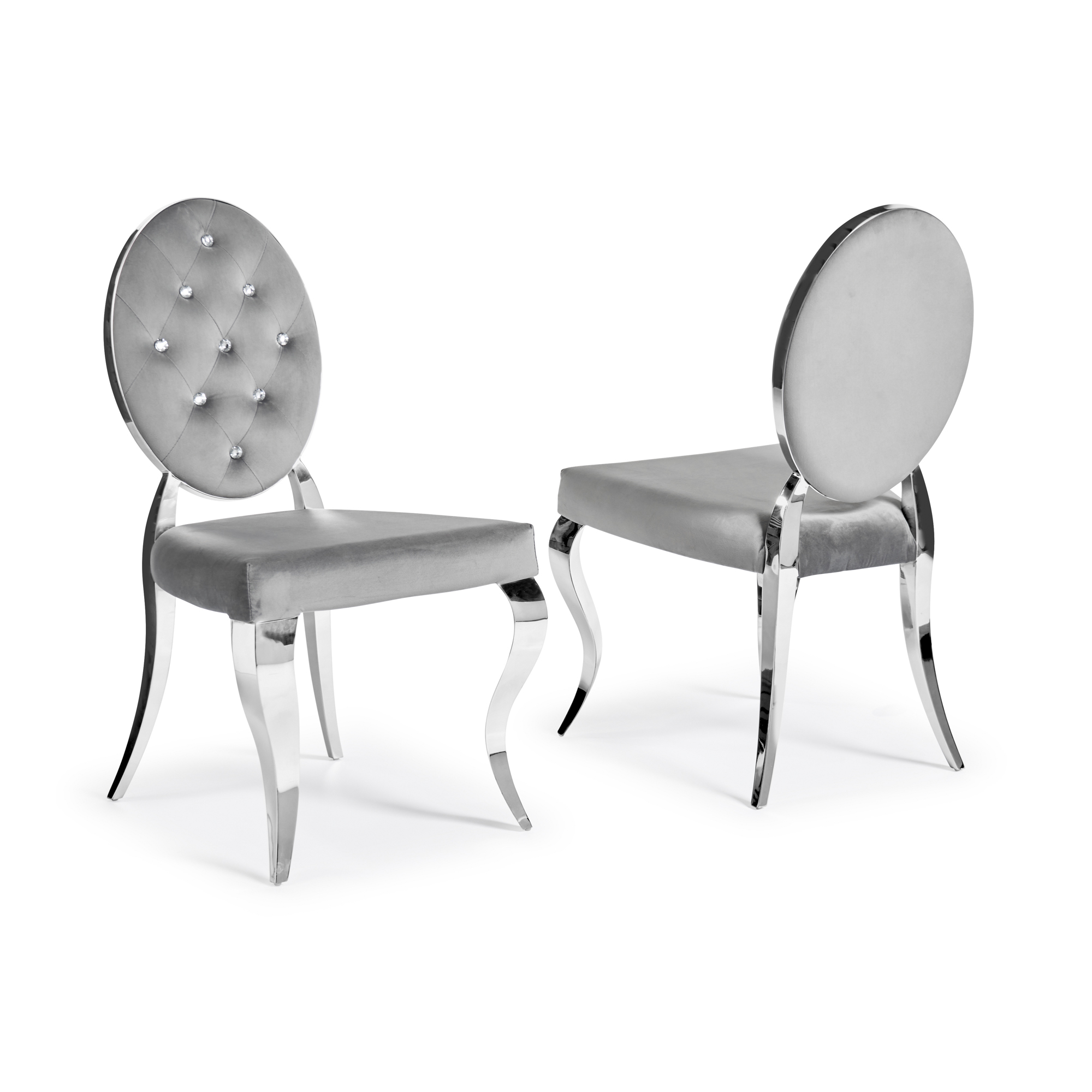 Louis Chrome Grey Velvet Dining Chairs with Diamond Studded Backrest (Set of 2)