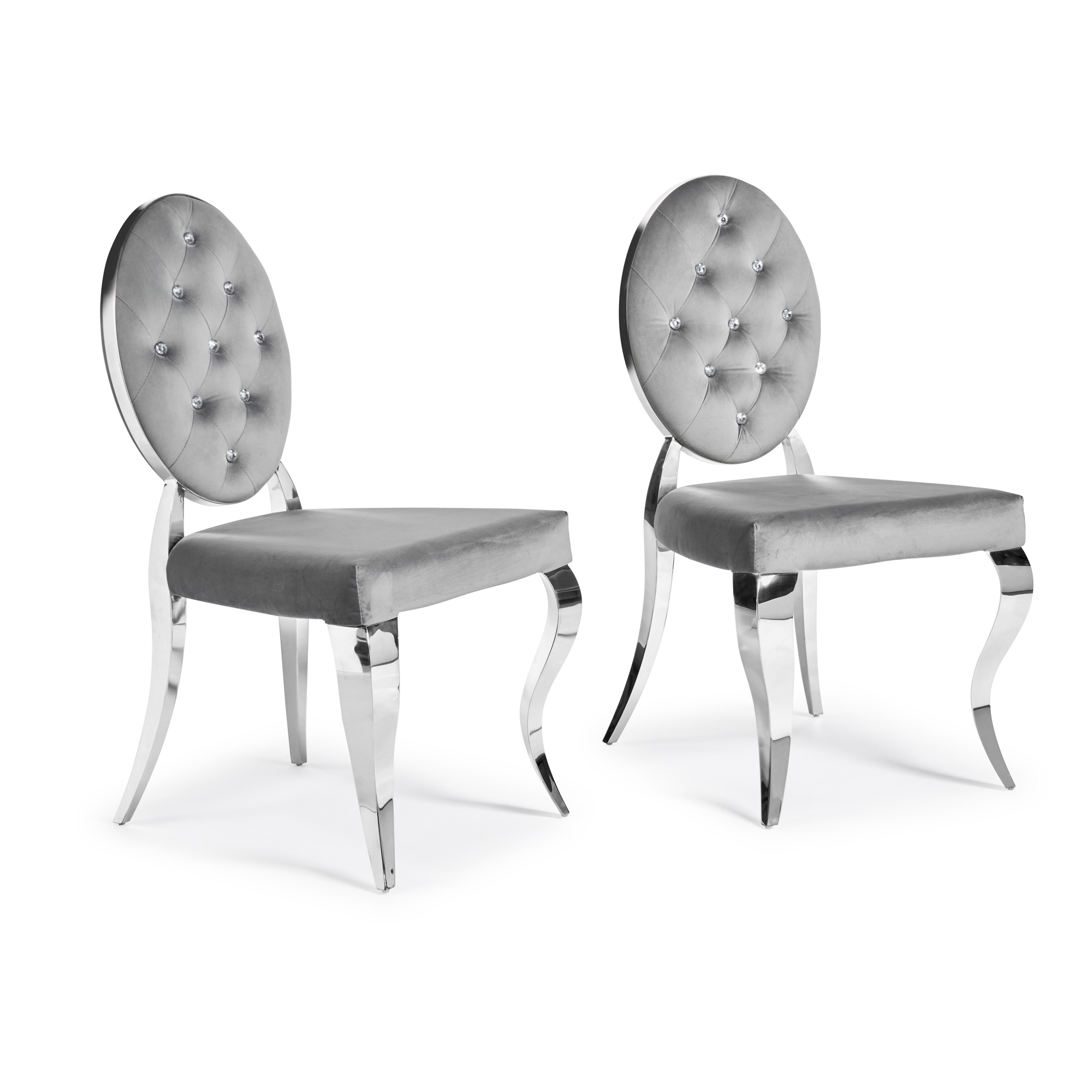 Small White Glass Dining Table Set for 4 (x4 Grey Velvet Dining Chairs)