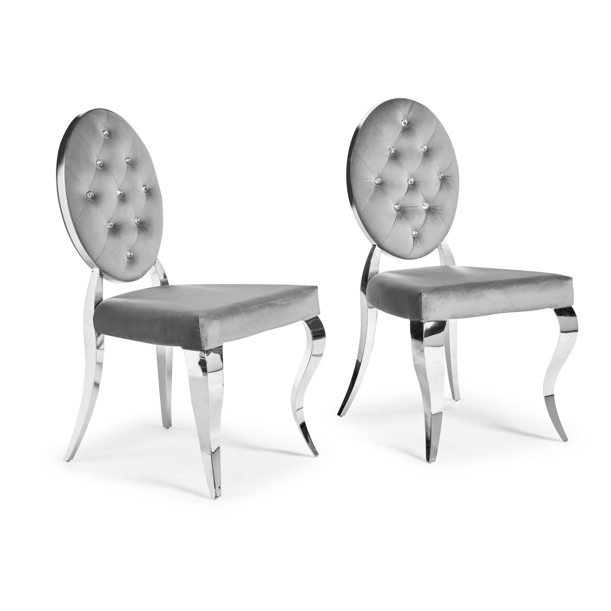 Louis Grey Velvet Dining Chairs with Chrome Legs & Diamond Studded Backrest (Set of 2)