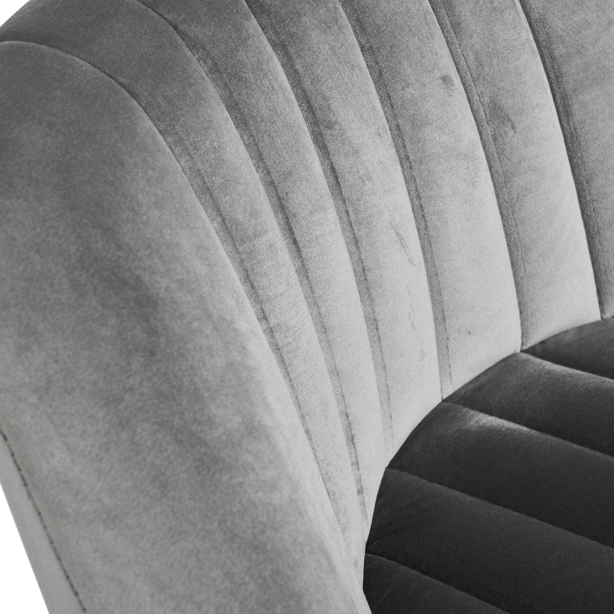 Barcelona Grey Velvet Bar Stool with Stainless Steel Frame