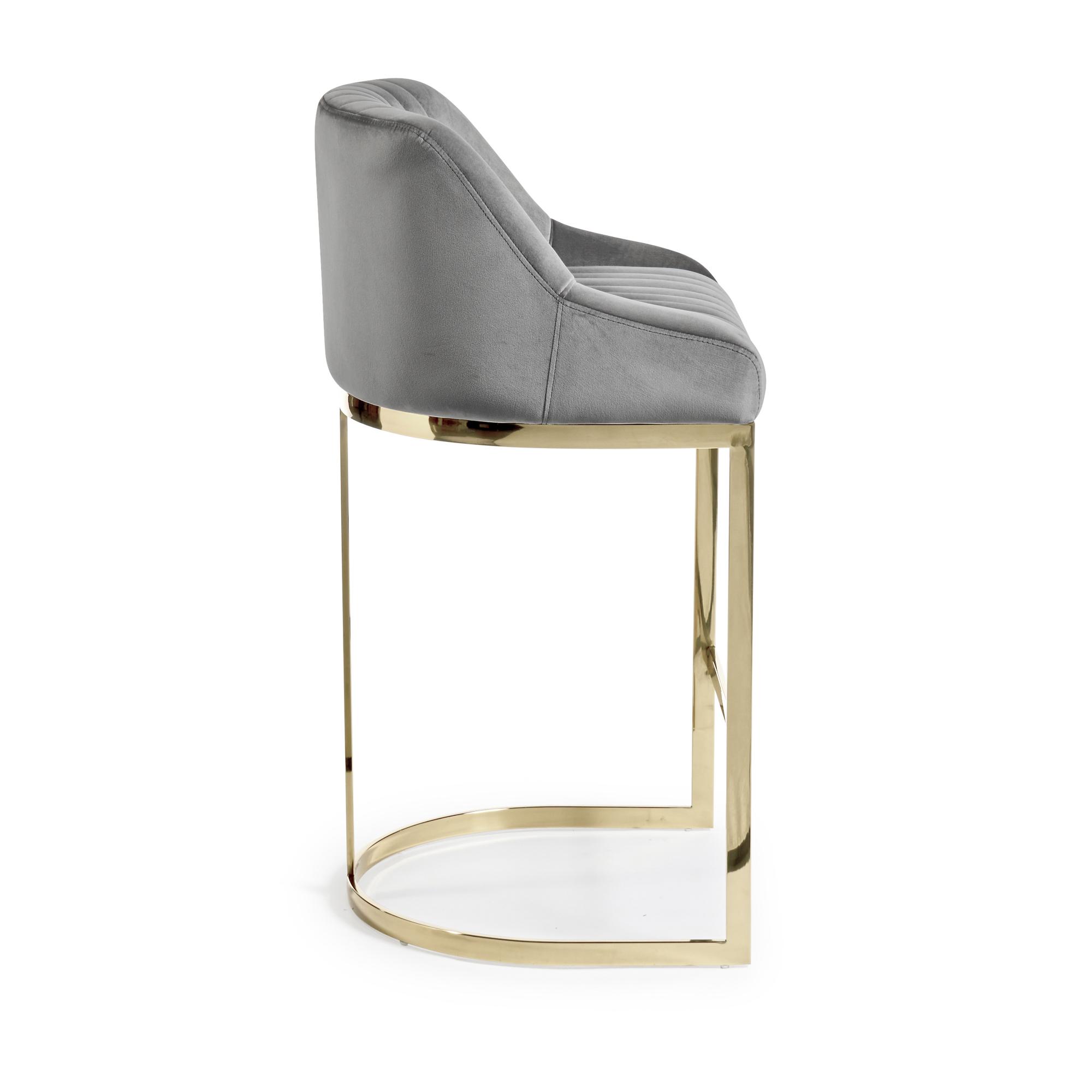 Barcelona Grey Velvet Bar Stool with a Gold Stainless Steel Frame