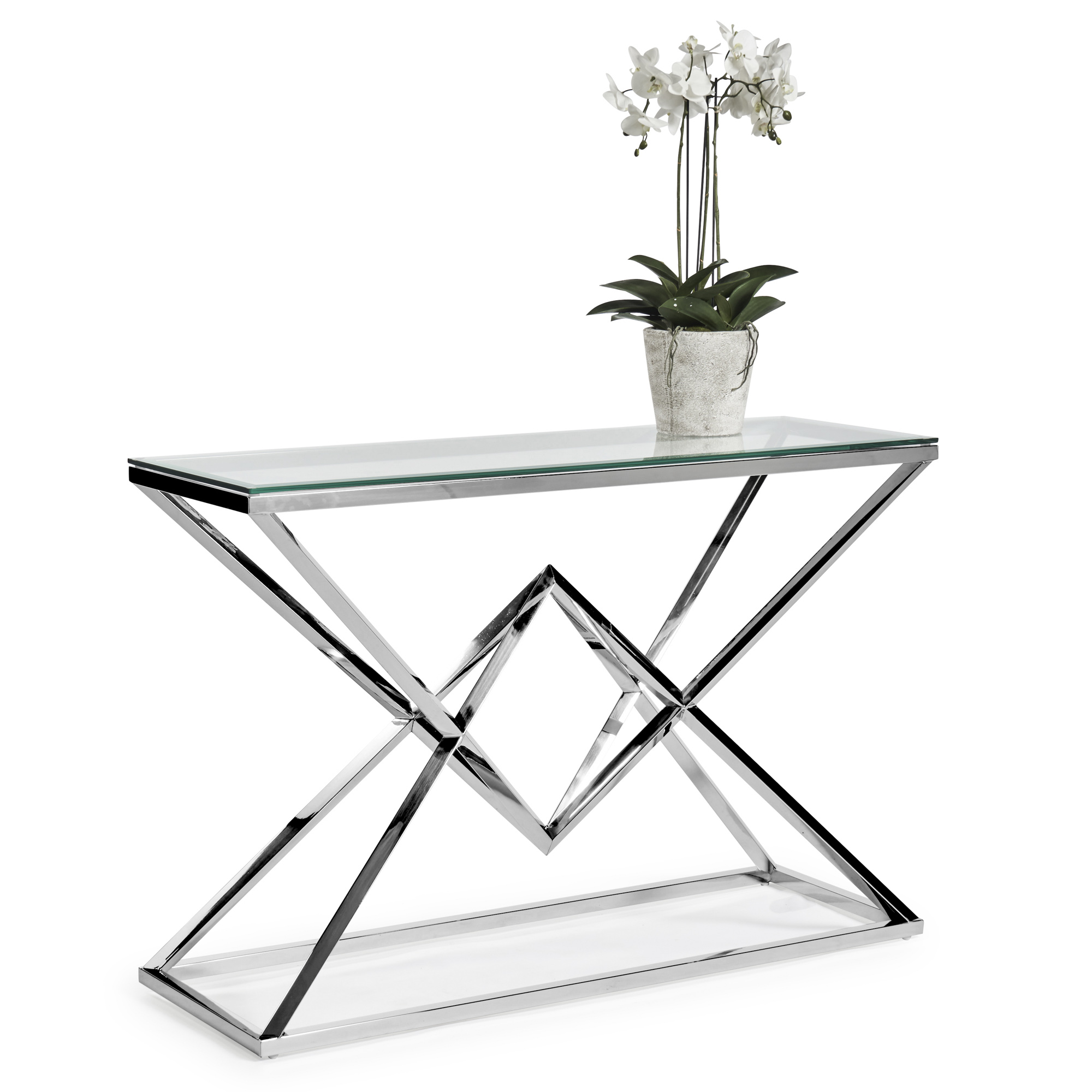 Small Glass Console Table With Polished Stainless Steel Pyramid Base