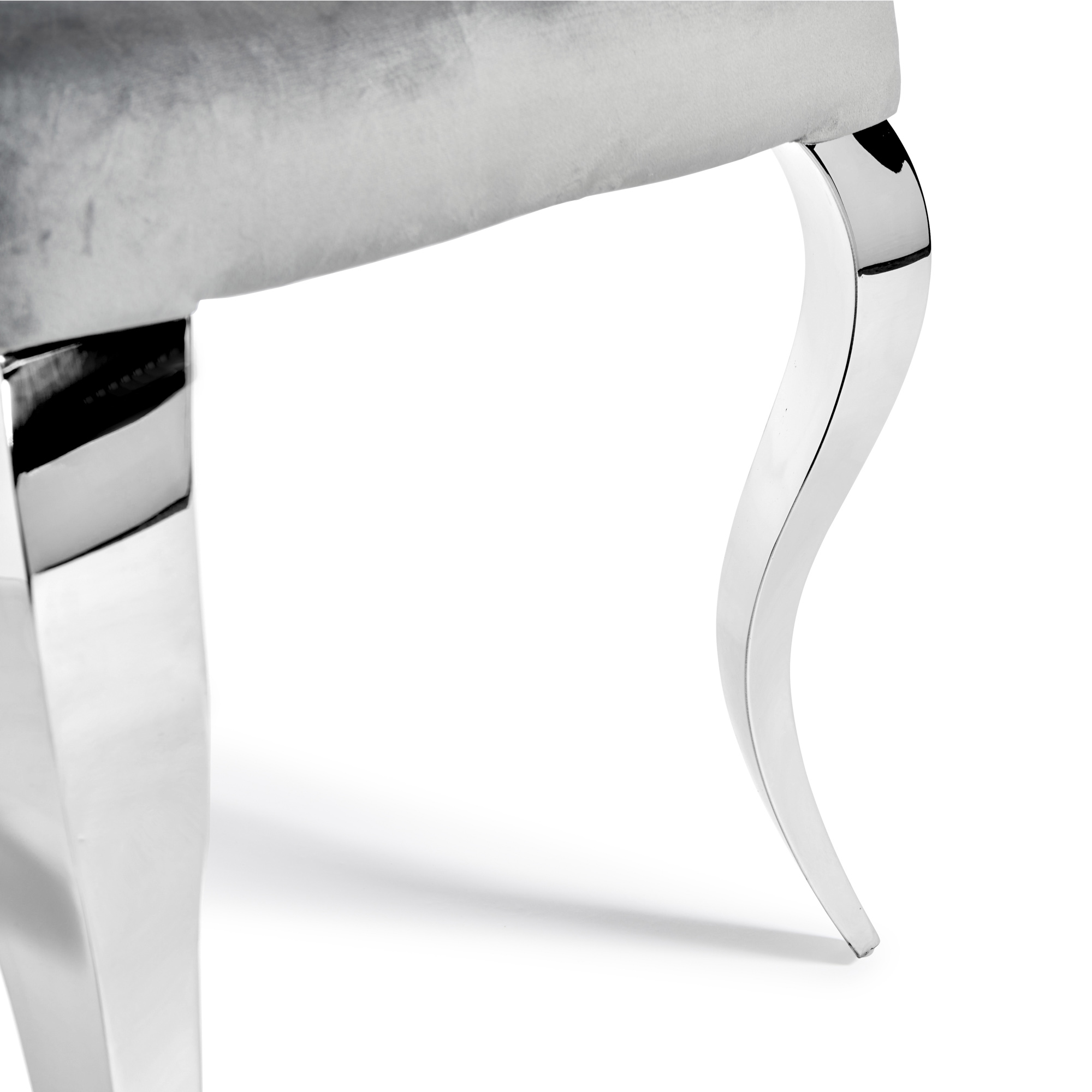 Small Louis 1.06m Round Dining Table Set – White Glass – 4x Louis Studded Grey Velvet Chairs