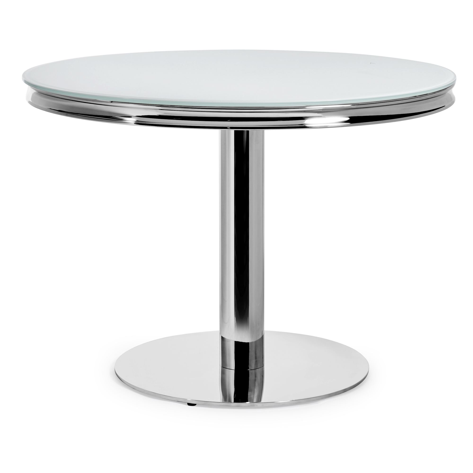 Small Louis 1.06m Round Dining Table Set – White Glass Table & Chairs Set