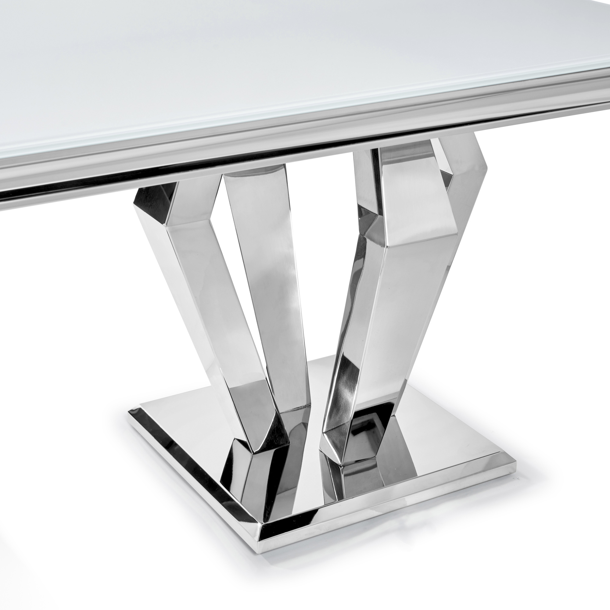 Sorrento 1.8m Polished Steel & White Glass Dining Table