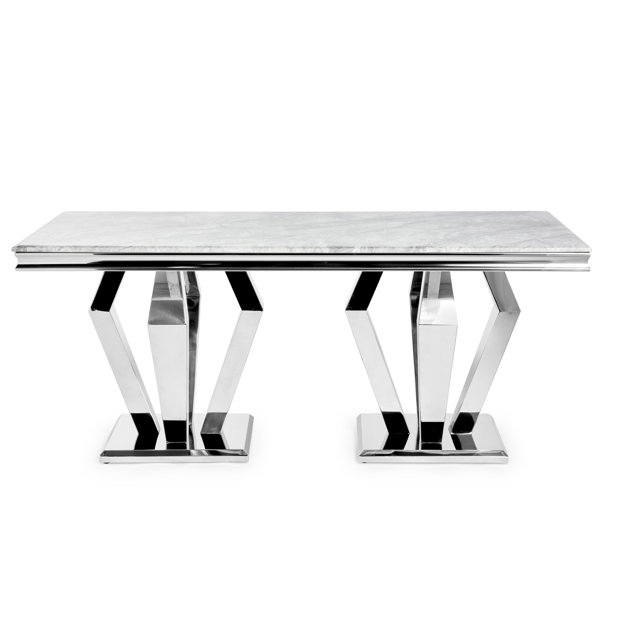 New Sorrento 1.8m Polished Steel Dining Table with a Grey Marble Top
