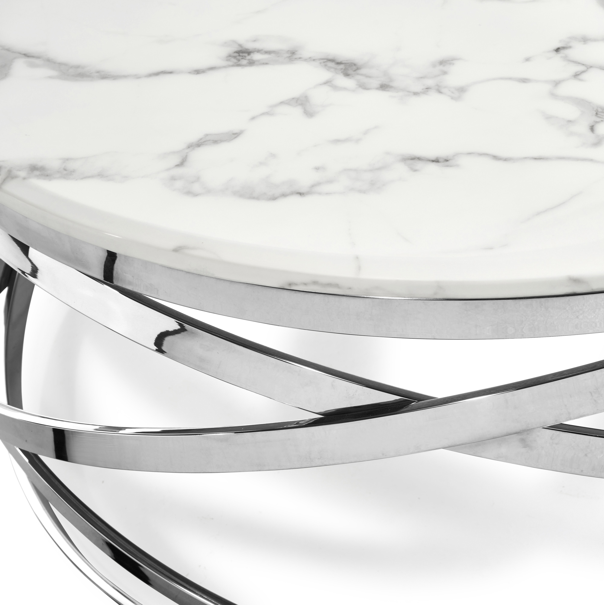 Stainless Steel Cerchio Coffee Table – White Marble Top