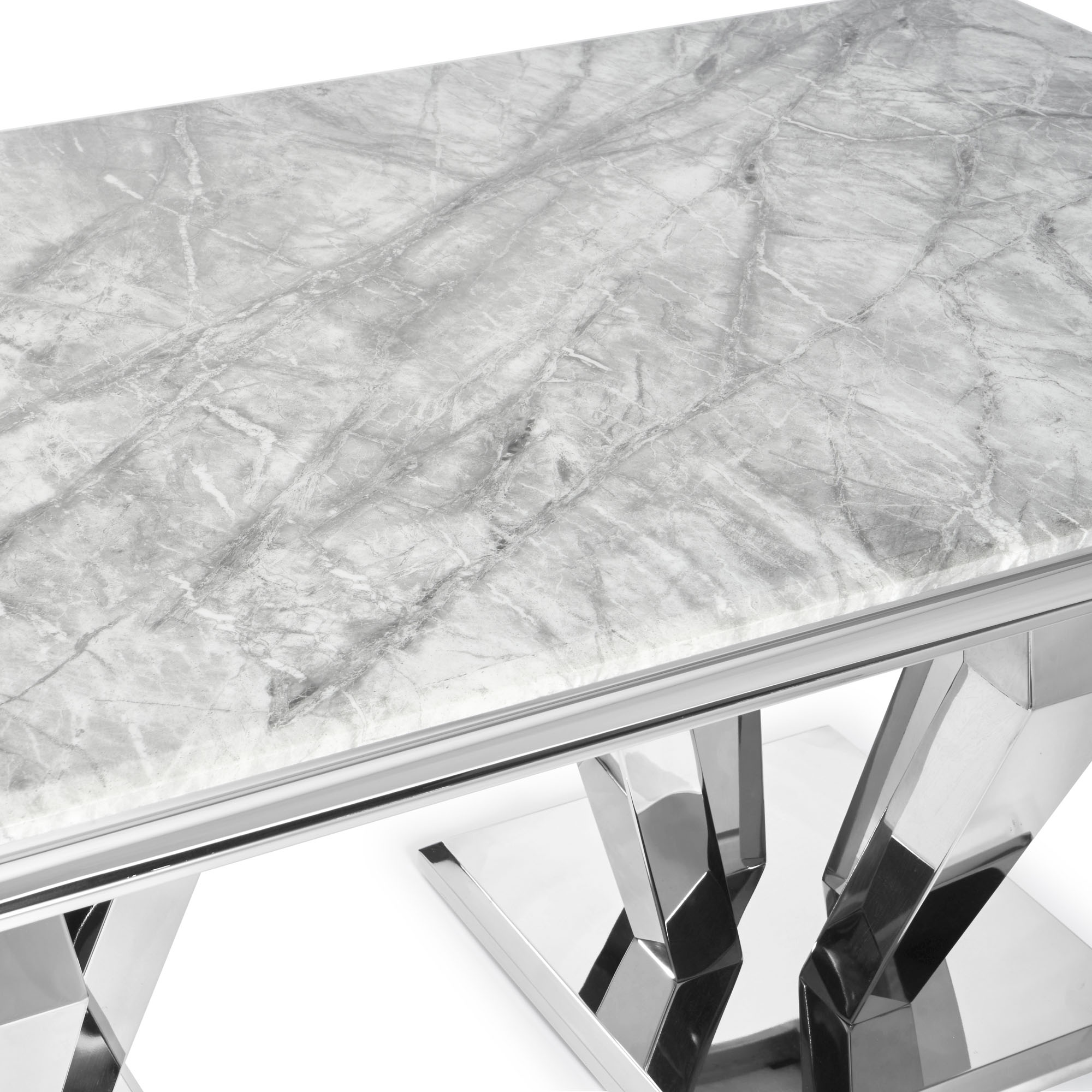 Sorrento 1.8m Polished Steel & Grey Marble Top Dining Table