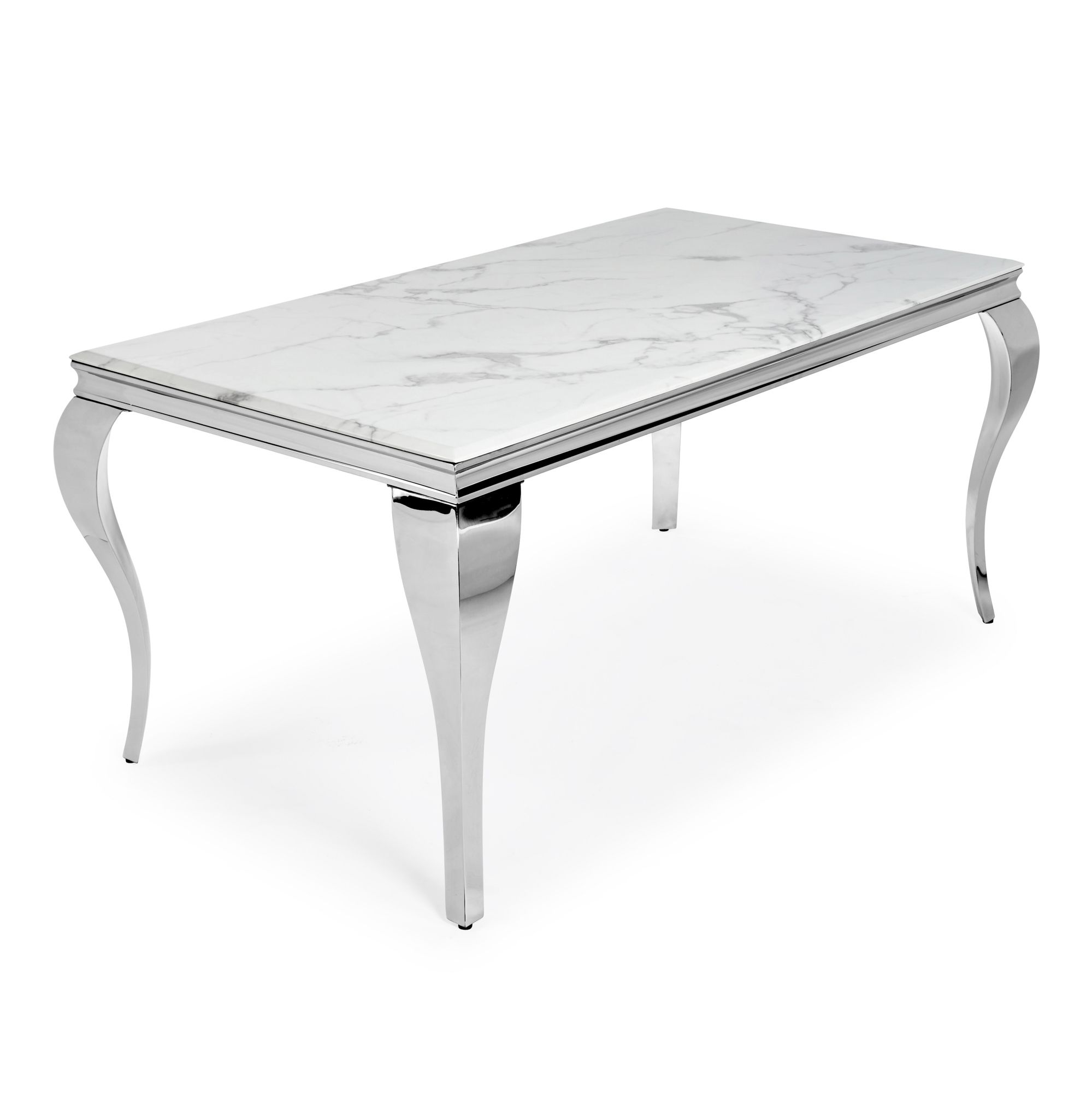 1.8m Louis Dining Table in Polished Steel with White Marble Top