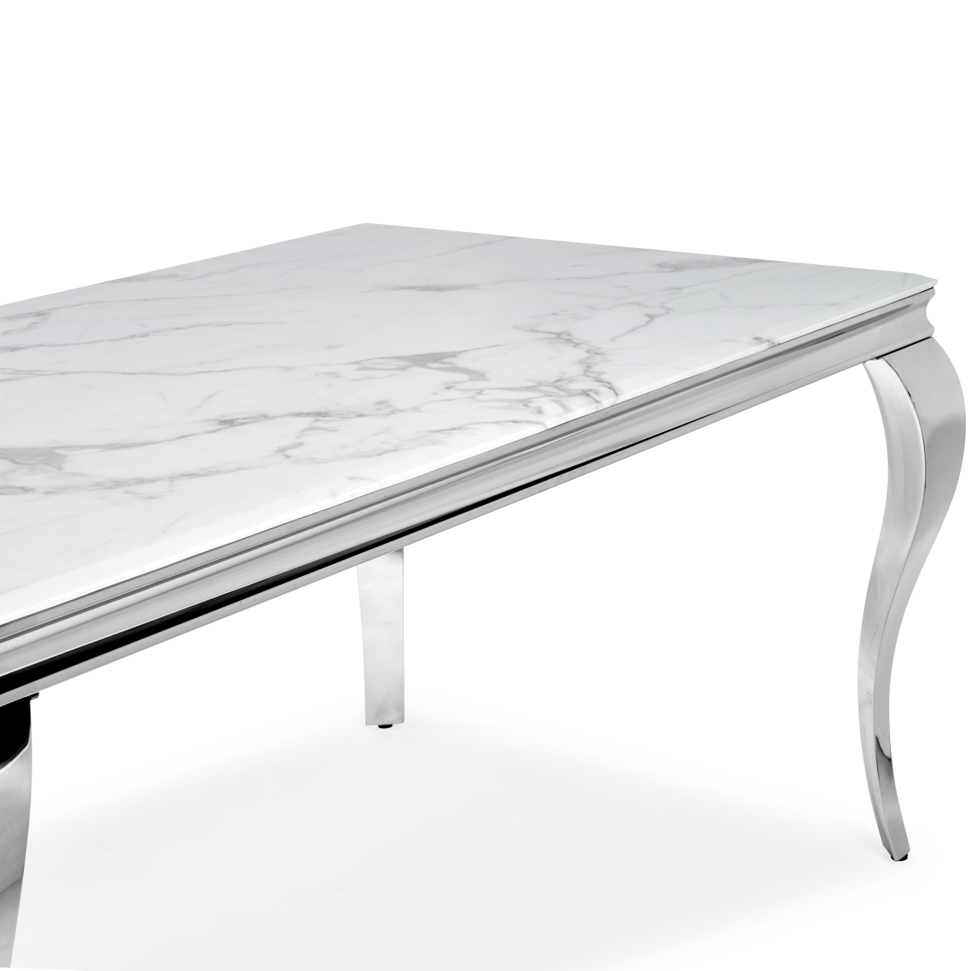 1.6m Louis White Dining Table with Solid Marble Top & Polished Steel Frame