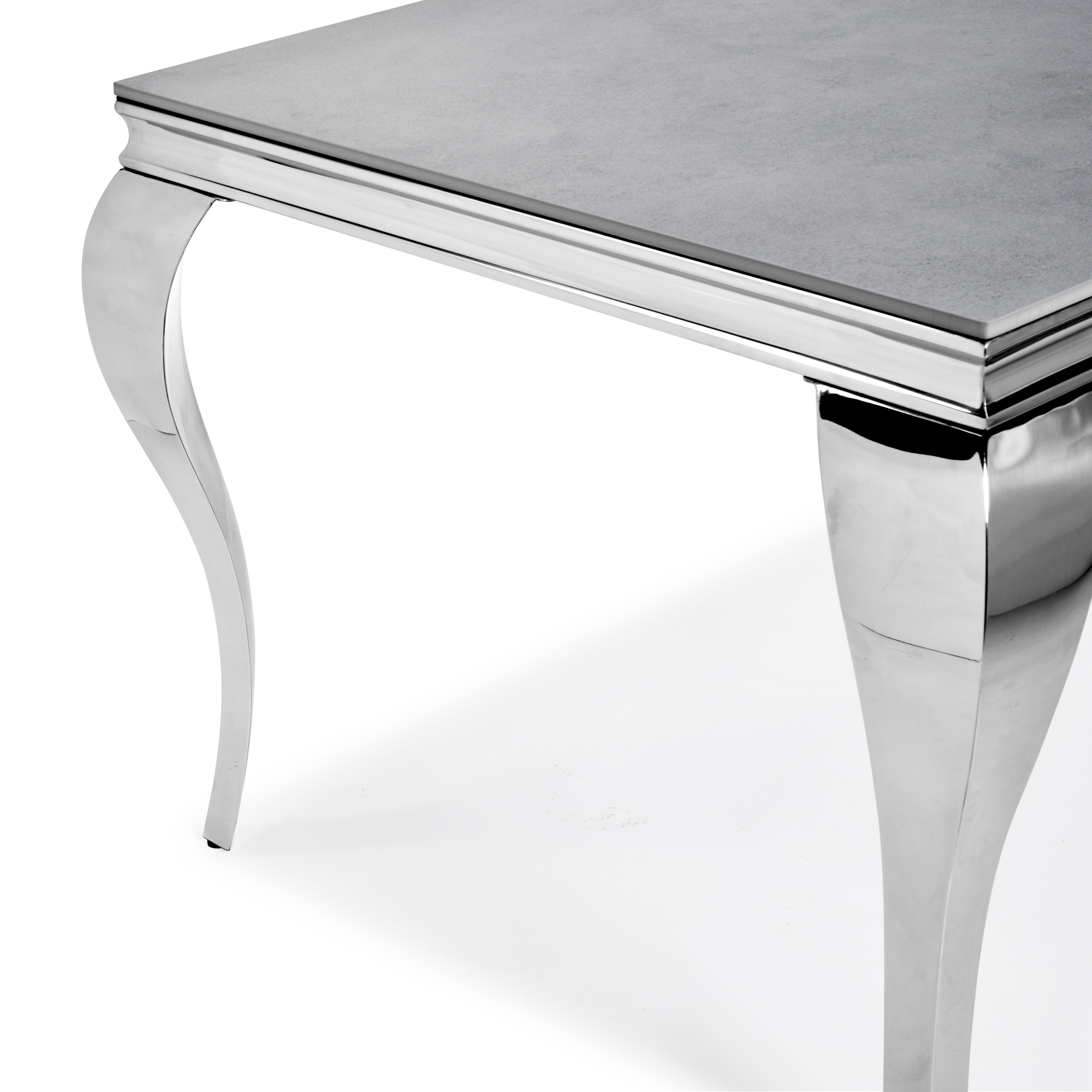 1.6m Louis Polished Stainless Steel Dining Table with Grey Ceramic Top