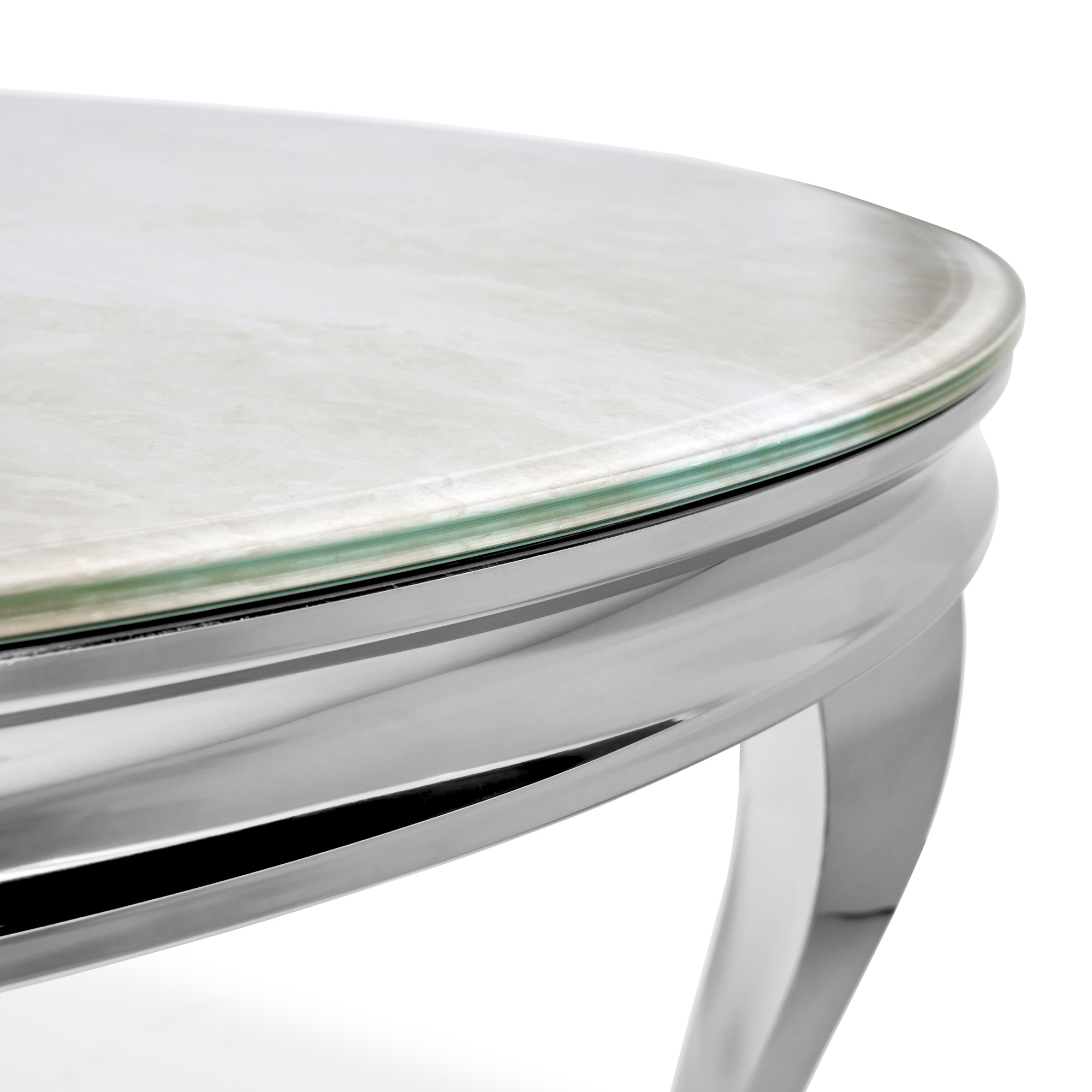 1.3m Louis Polished Circular Stainless Steel Dining Table with Cream Marble Effect Tempered Glass