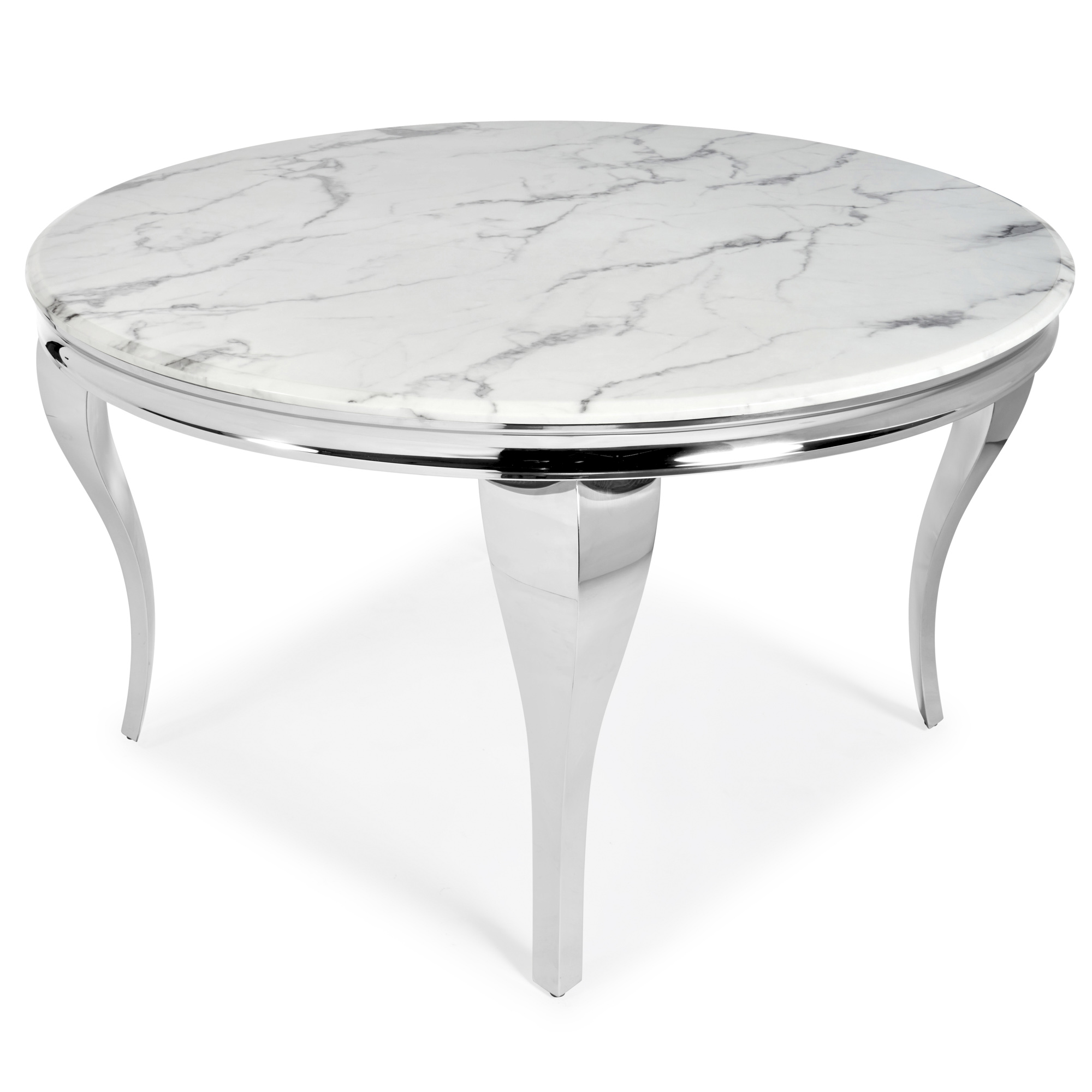 1.3m Round White Marble Dining Table x Set of 4 Chairs