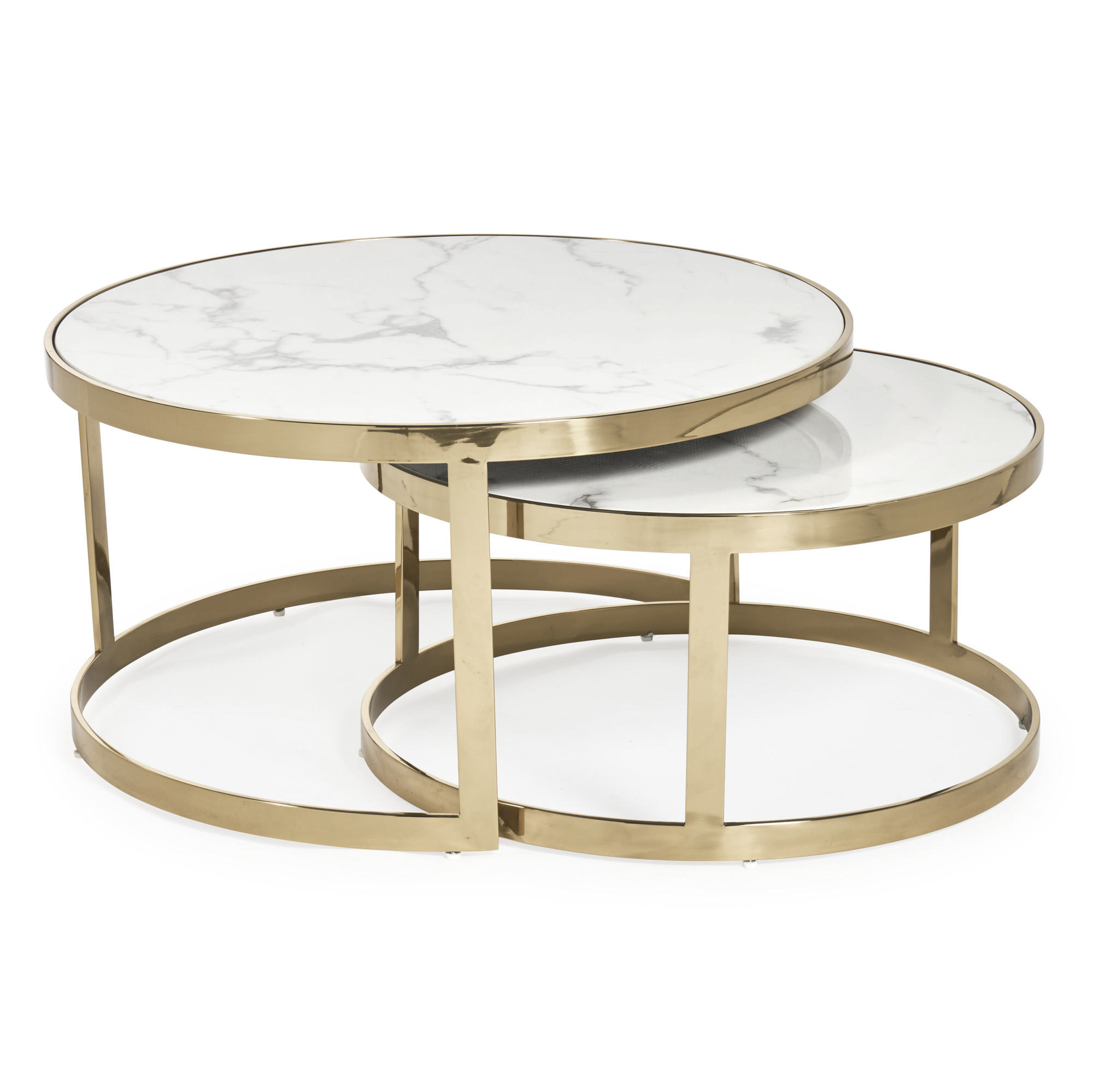Nest of White Round Marble Dining Tables With Gold Frame (Set of 2)