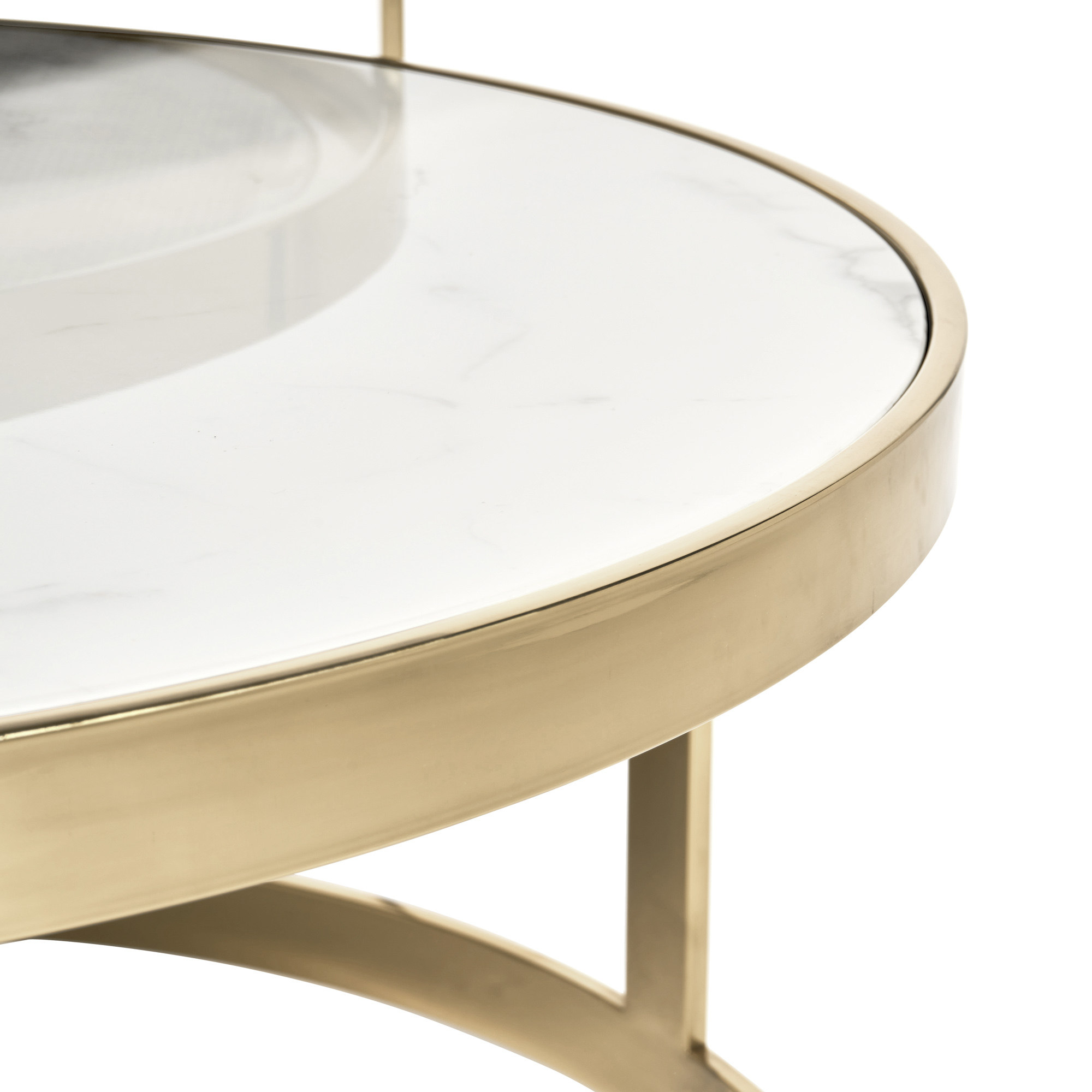 Florence Gold Framed Set of 2 Circular Coffee Tables – White Marble