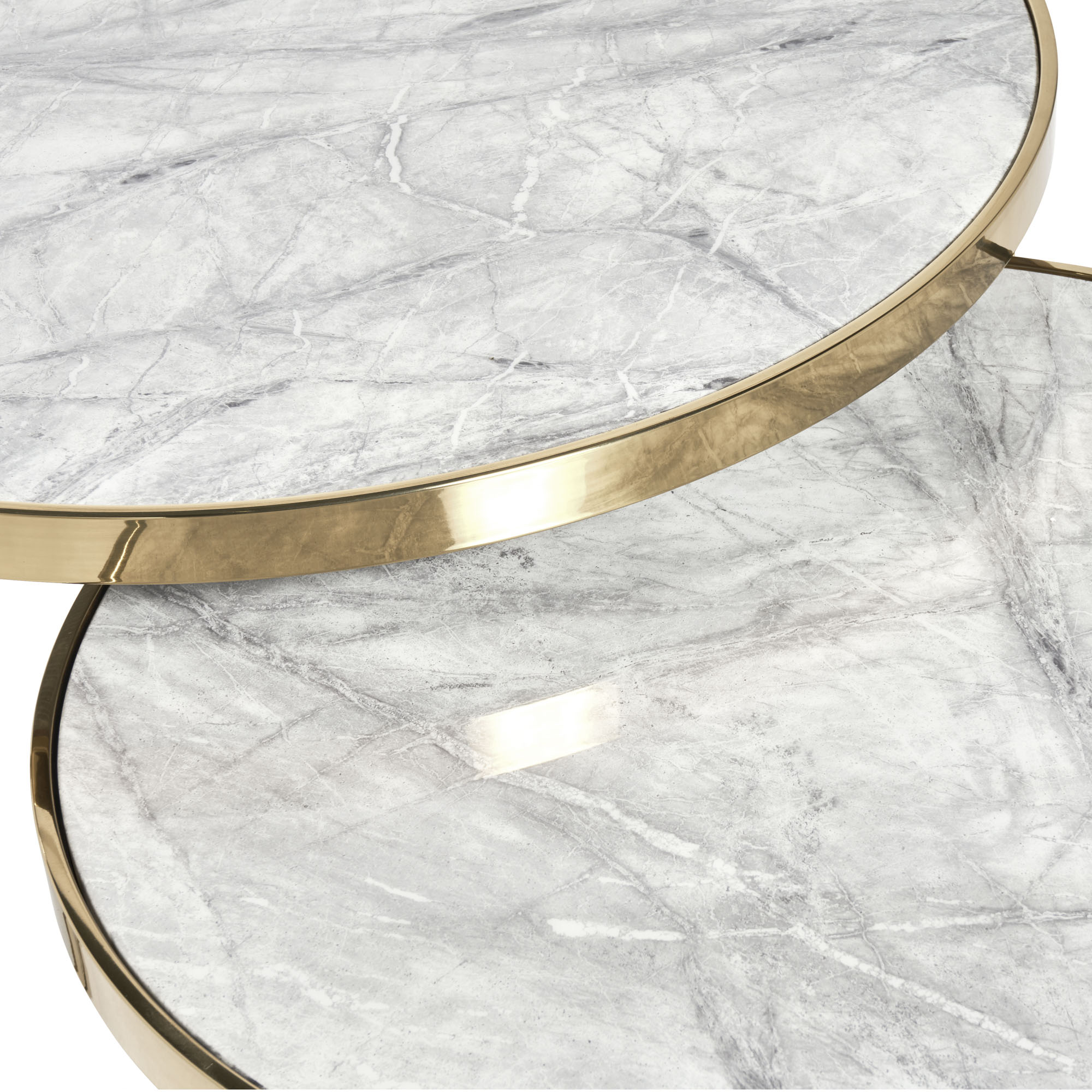 Florence Gold Framed Set of 2 Circular Coffee Tables – Grey Marble