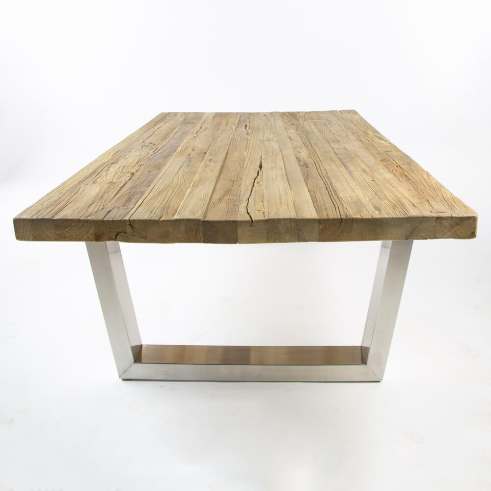 Detroit Reclaimed Elm Brushed Steel Coffee Table