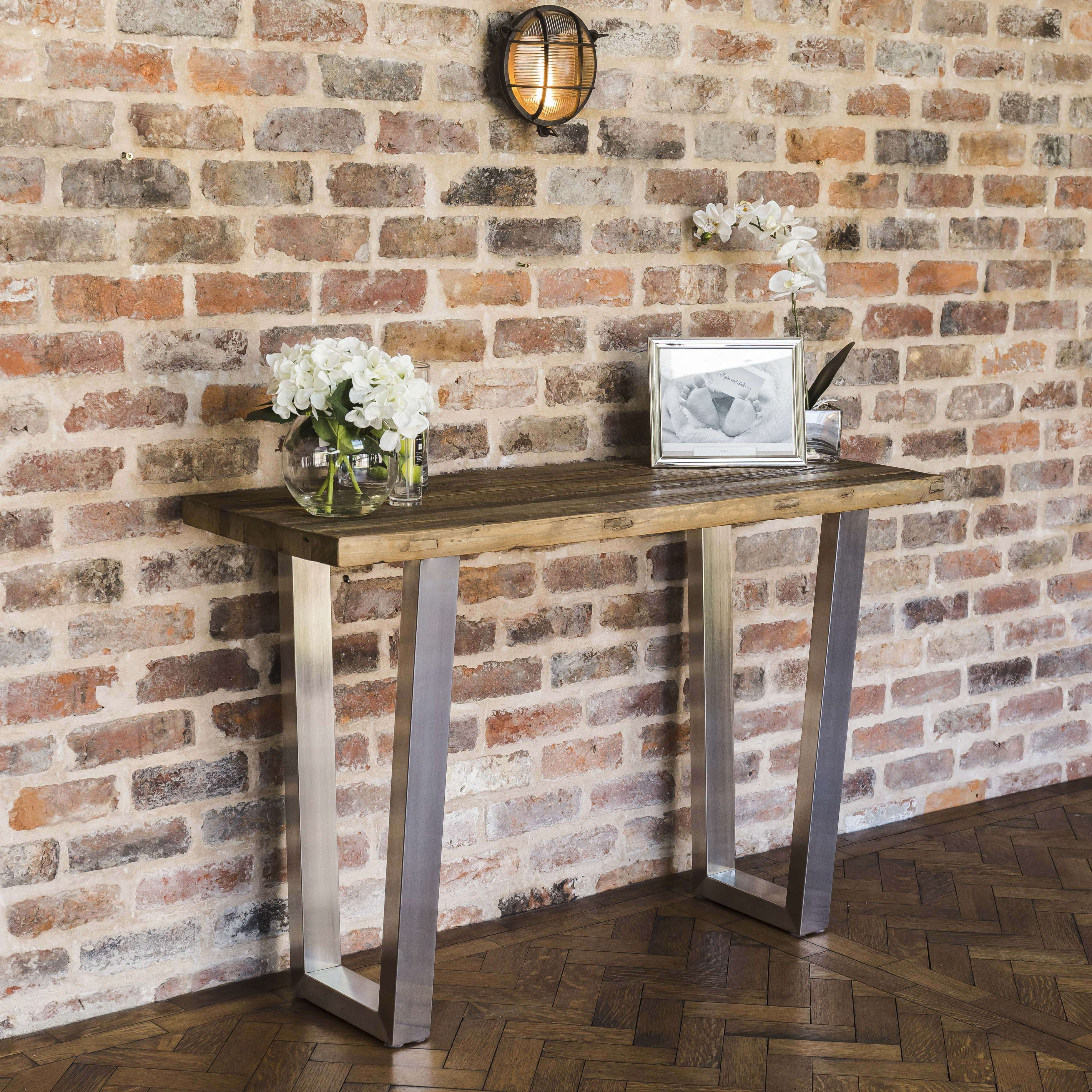 Detroit Reclaimed Elm Brushed Steel Console Table