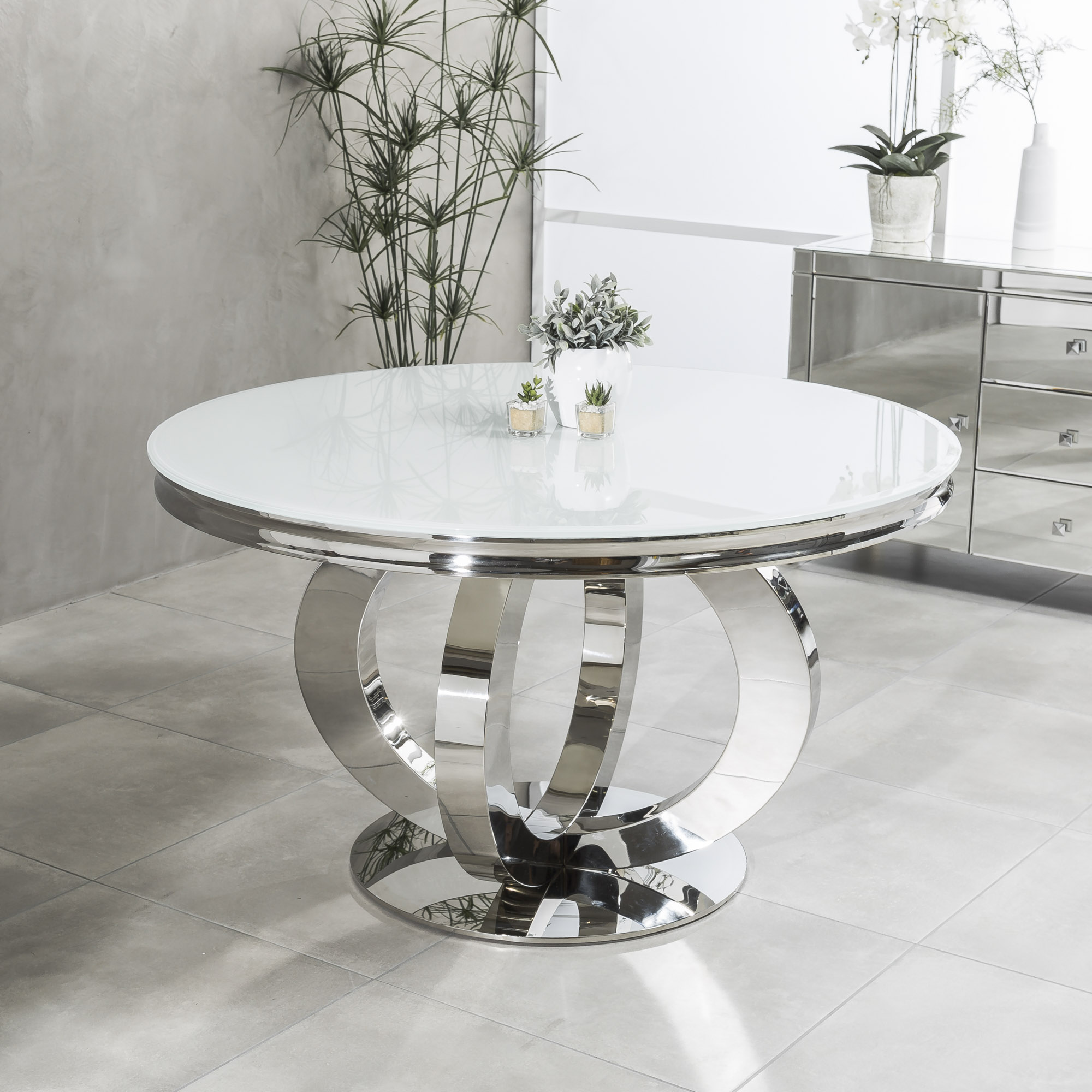 1.3m Circular Polished Steel Dining White Glass Table Set with 4 Grey Brushed Velvet Dining Chairs